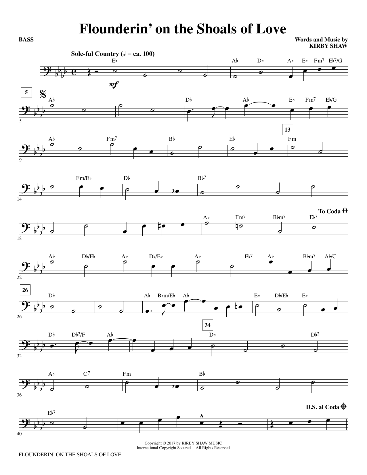 Flounderin' on the Shoals of Love - Bass Sheet Music