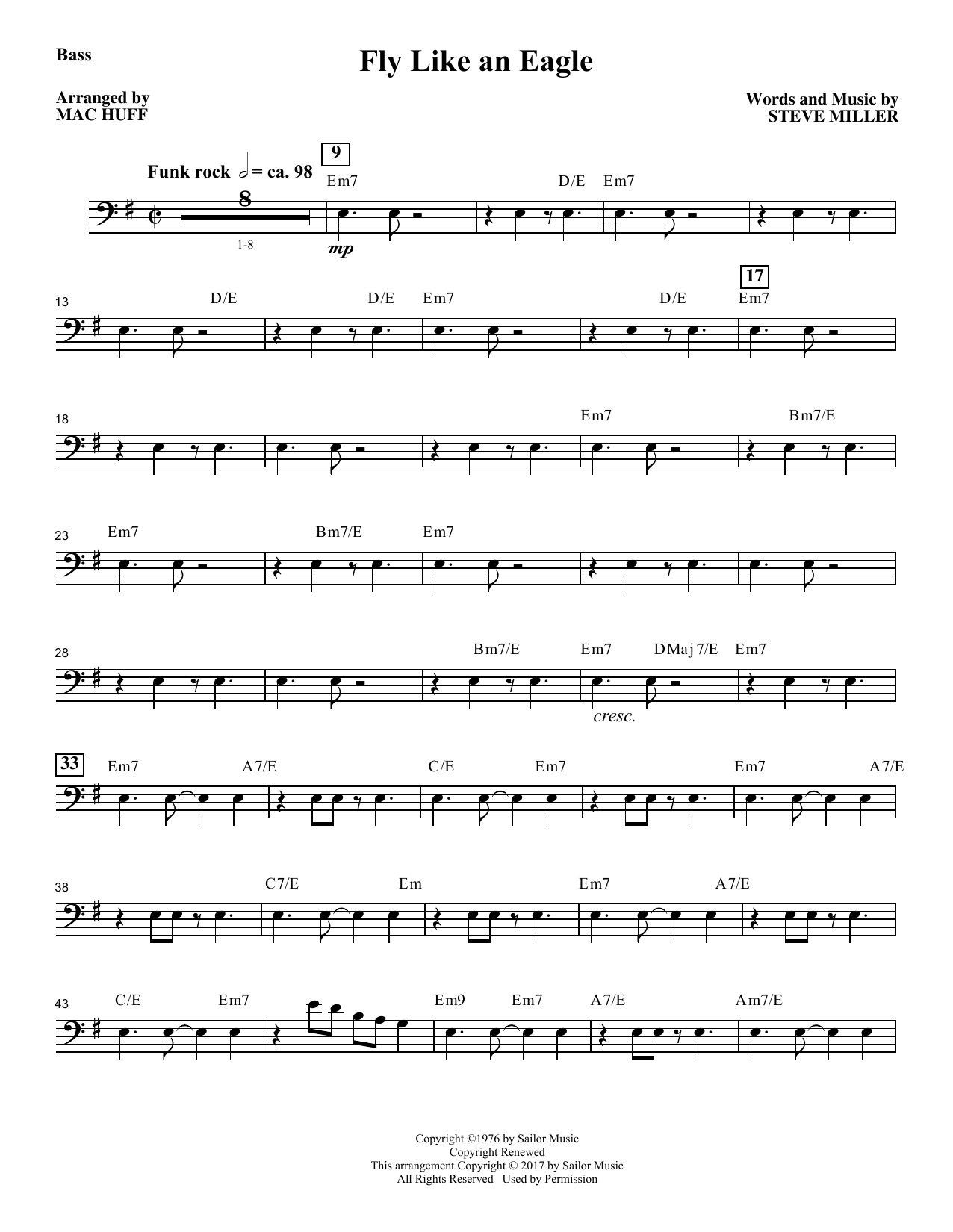 Fly Like an Eagle - Bass Sheet Music