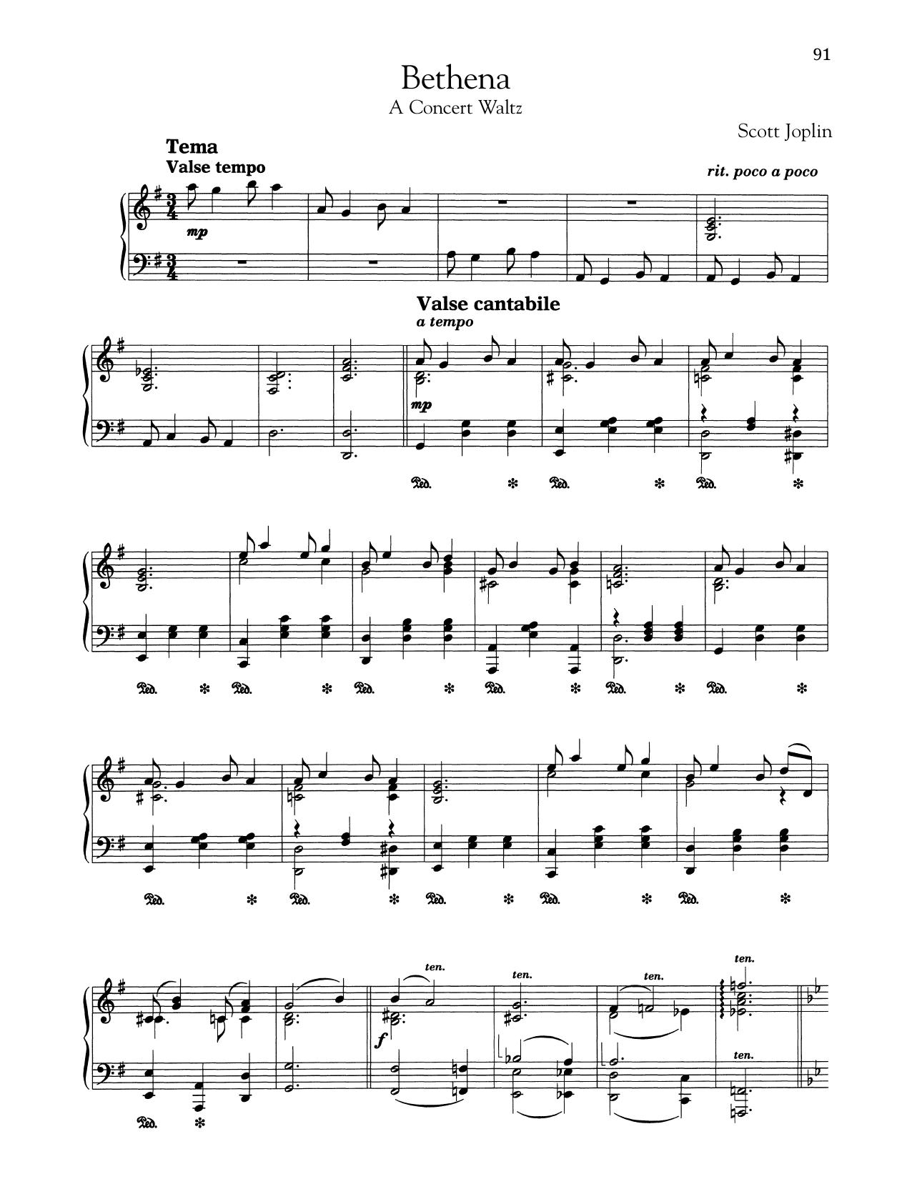 Bethena (Ragtime Waltz) Sheet Music
