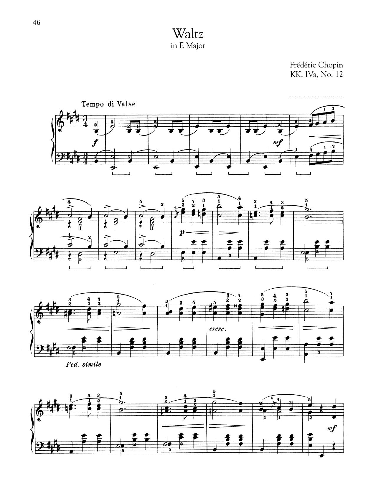 Waltz In E Major, KK. IVa, No. 12 (Piano Solo)
