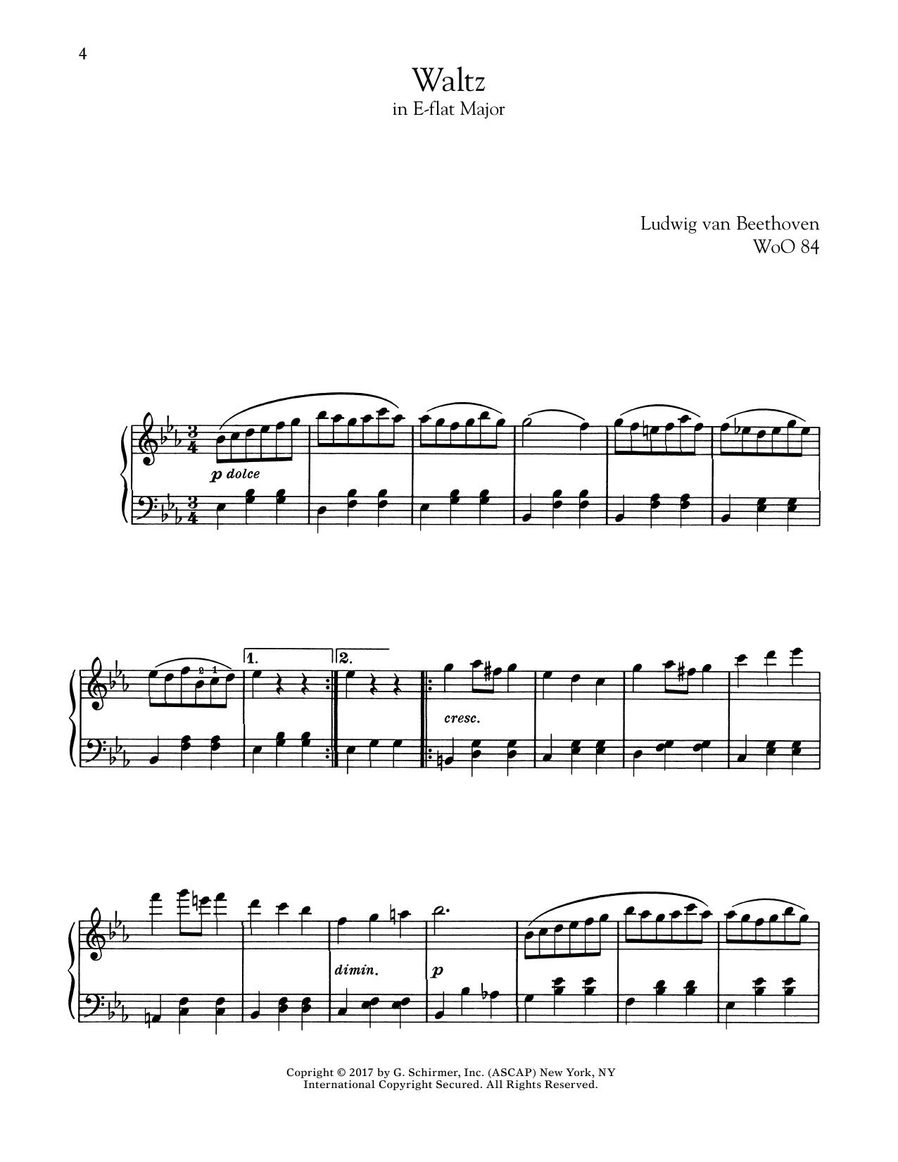 Waltz In E-Flat Major, WoO 84 (Piano Solo)