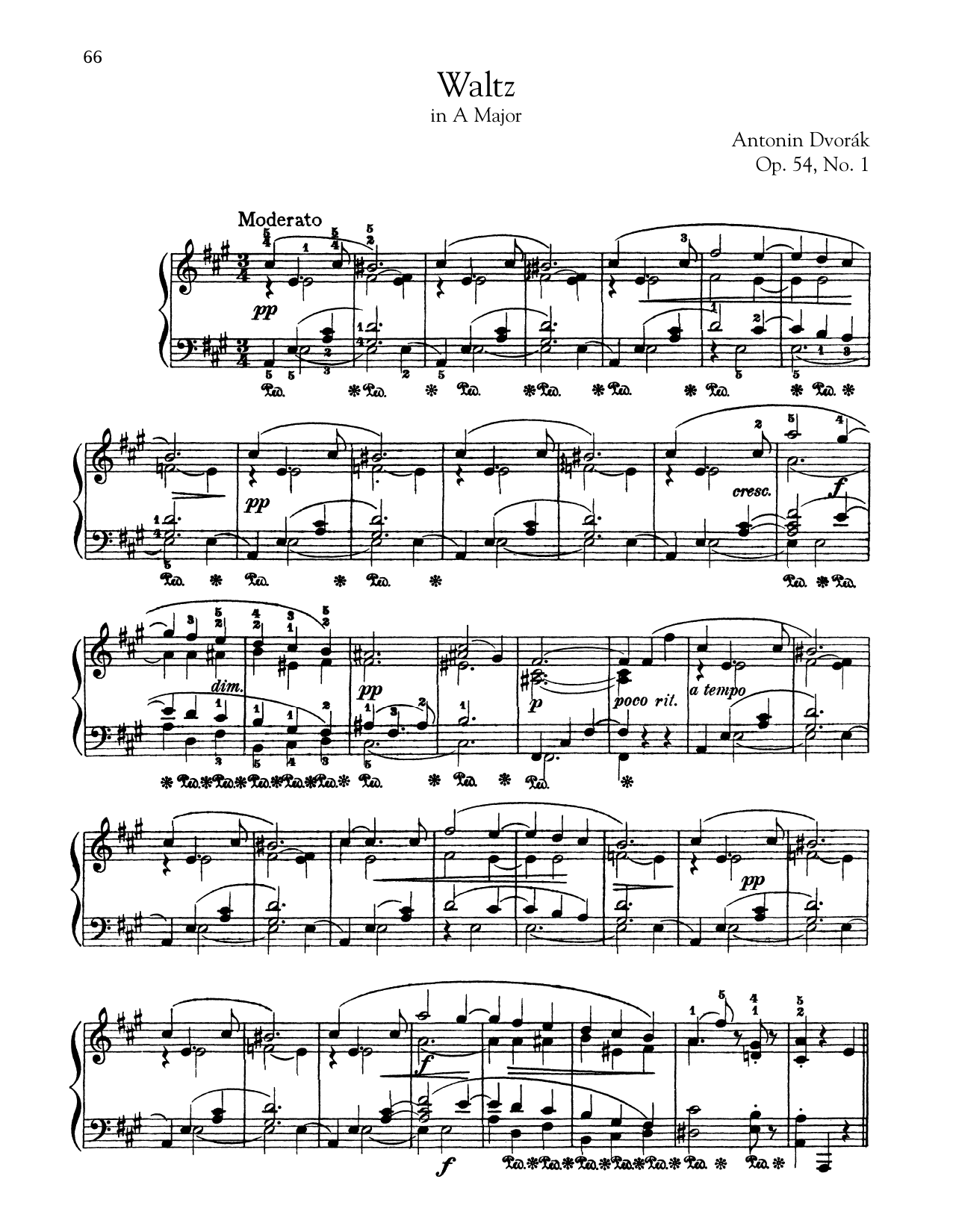 Waltz In A Major, Op. 54, No. 1 (Piano Solo)