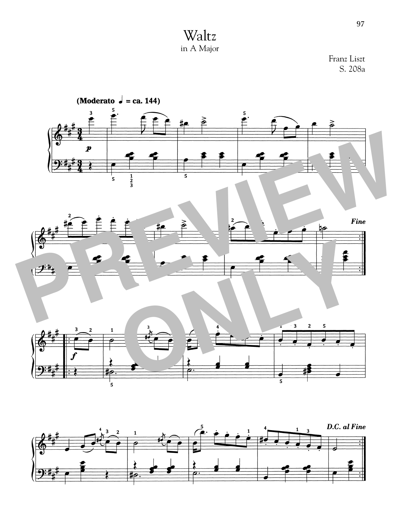 Waltz In A Major, S. 208a (Piano Solo)