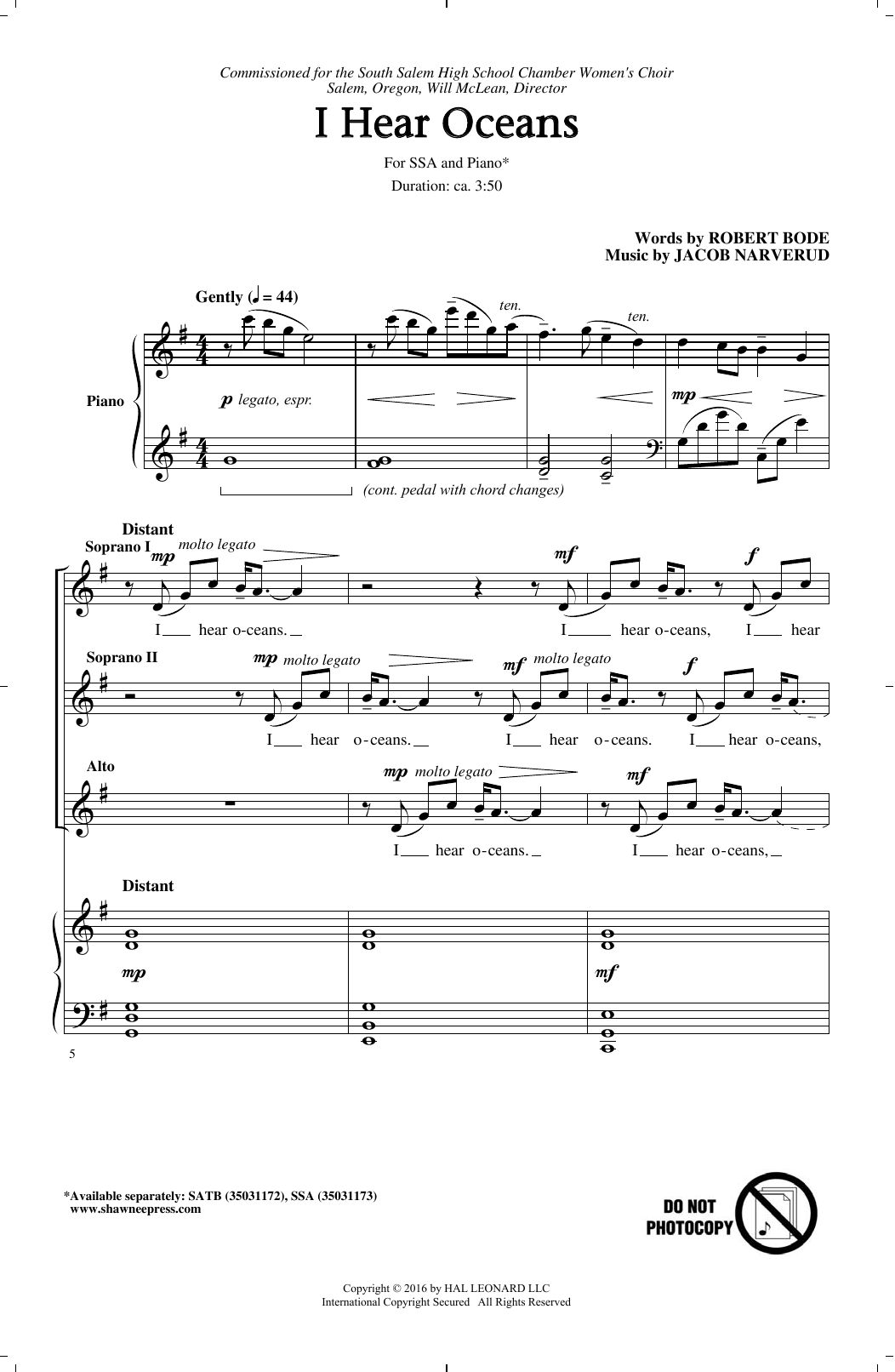 I Hear Oceans (SSA Choir)