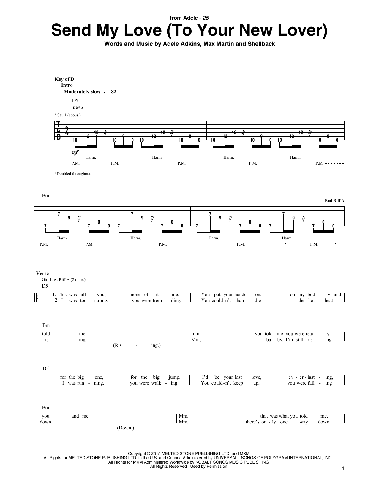 Send My Love (To Your New Lover) (Guitar Rhythm Tab)