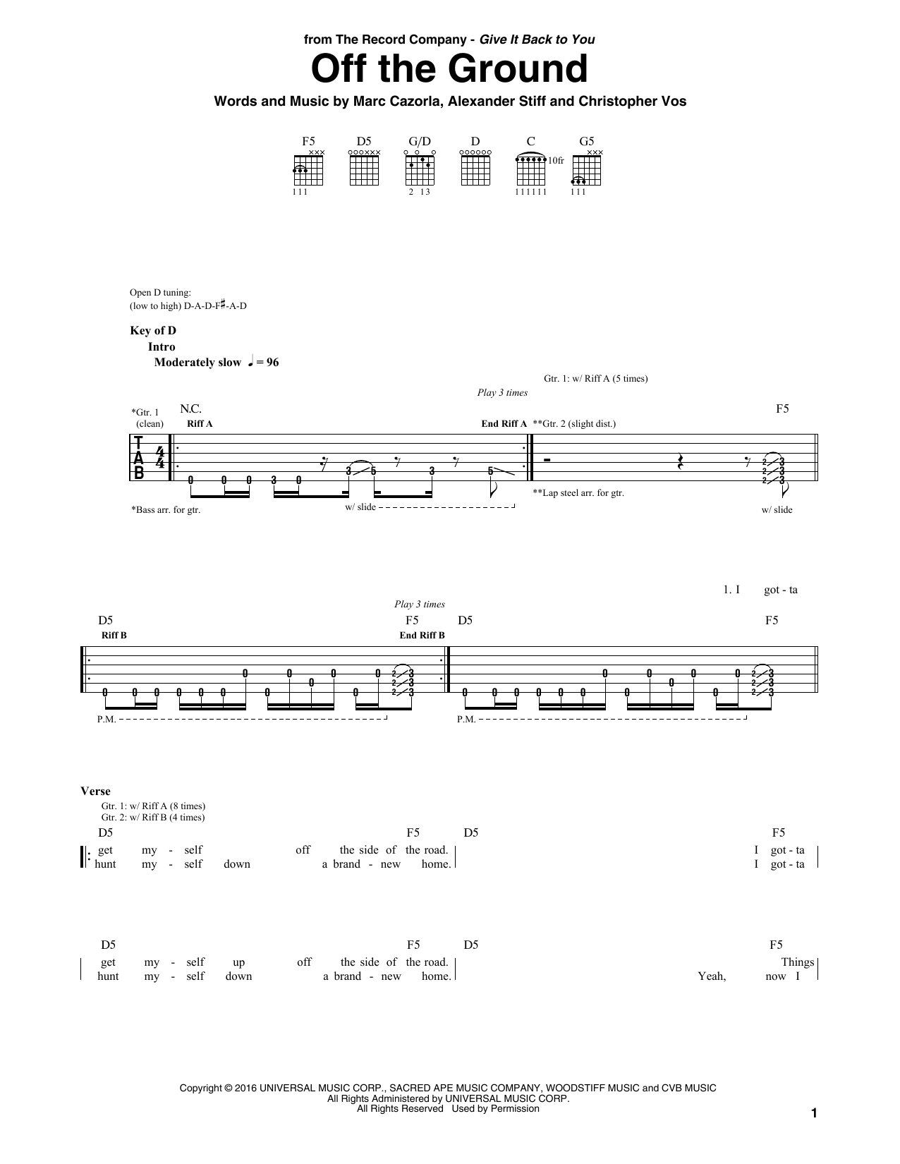 Off The Ground (Guitar Rhythm Tab)