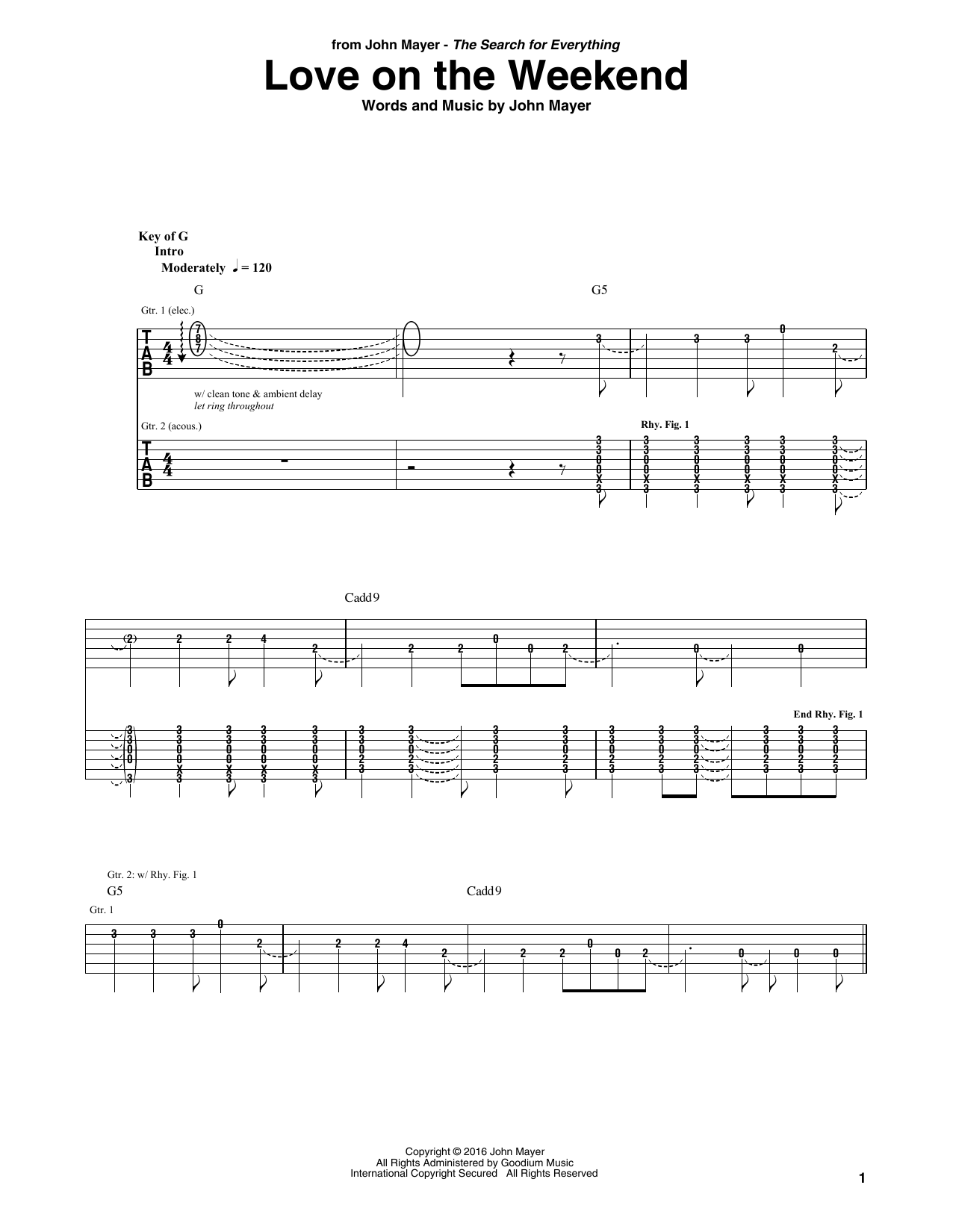 Love On The Weekend (Guitar Rhythm Tab)