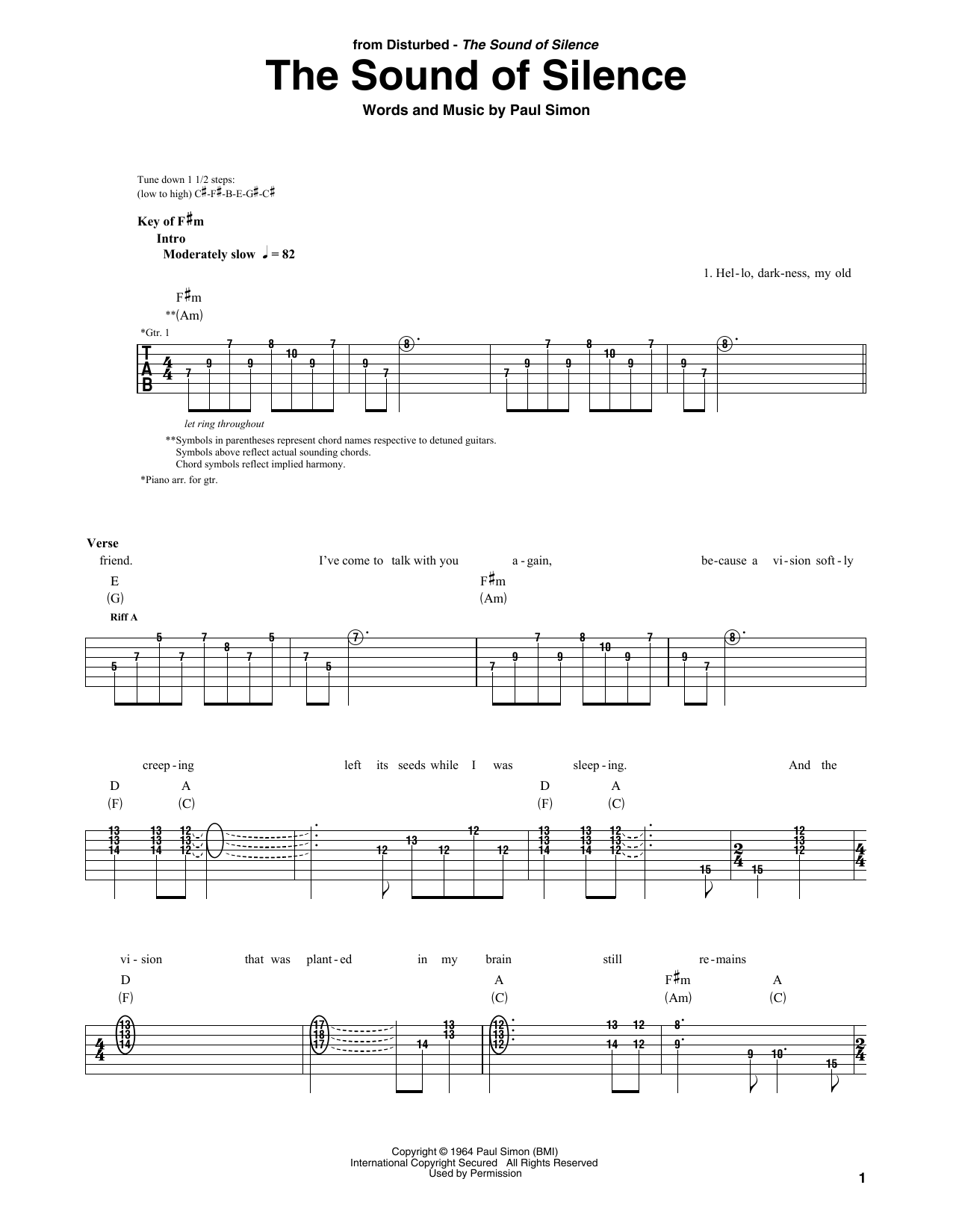 The Sound Of Silence (Guitar Rhythm Tab)
