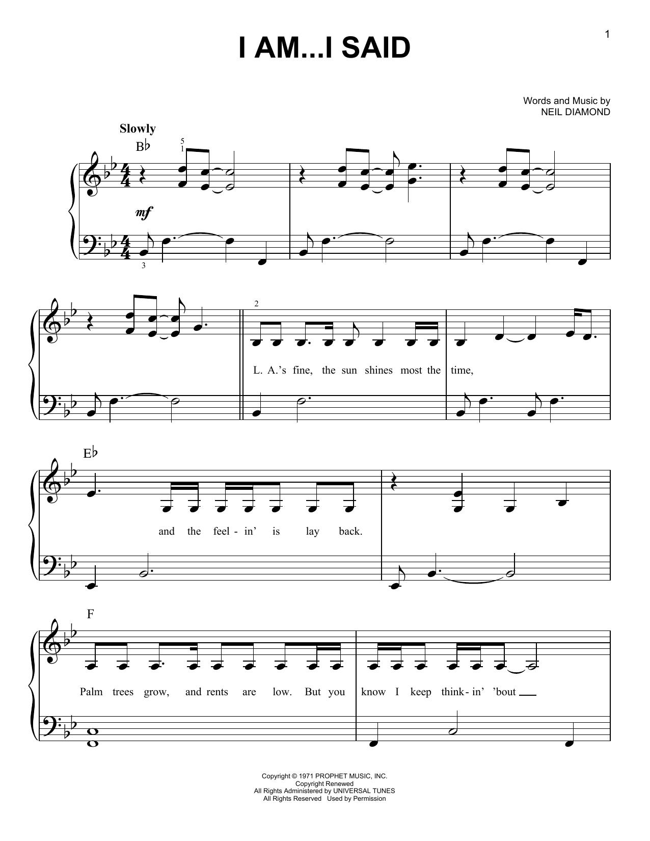 I Am...I Said (Easy Piano)