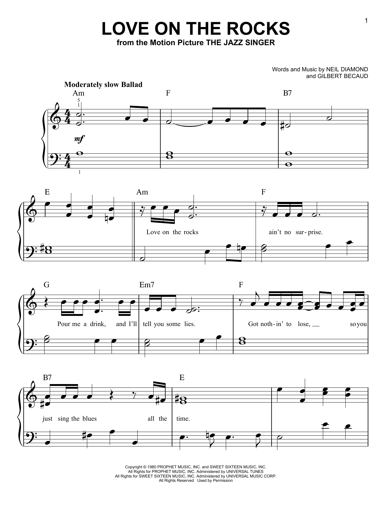 Partition piano Love On The Rocks de Neil Diamond - Piano Facile