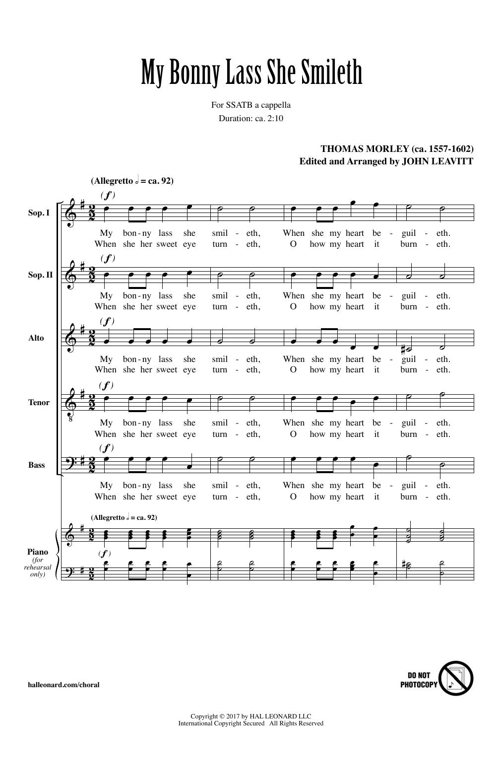 My Bonny Lass She Smileth (SATB Choir)