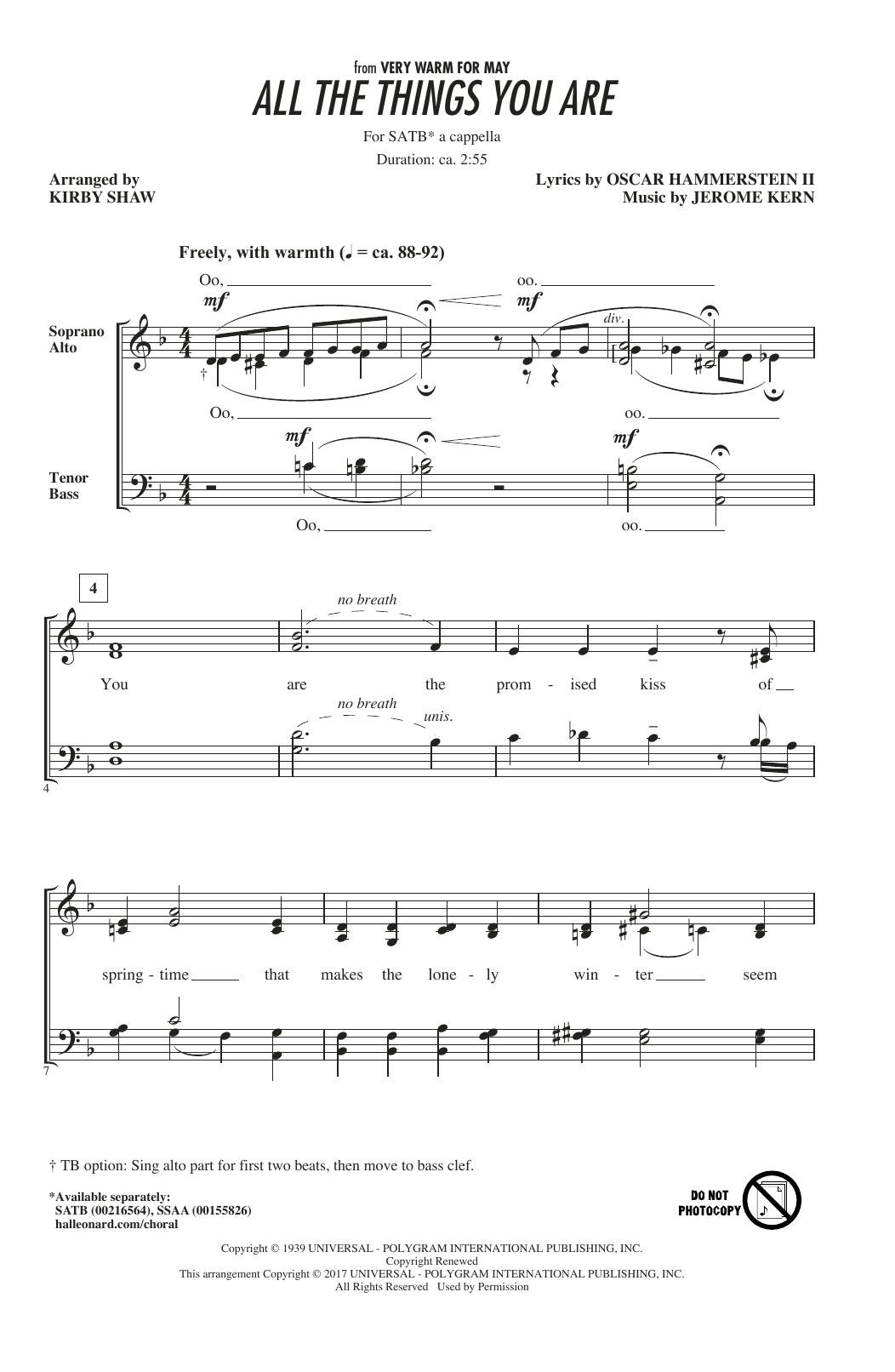 All The Things You Are (arr. Kirby Shaw) (SATB Choir)