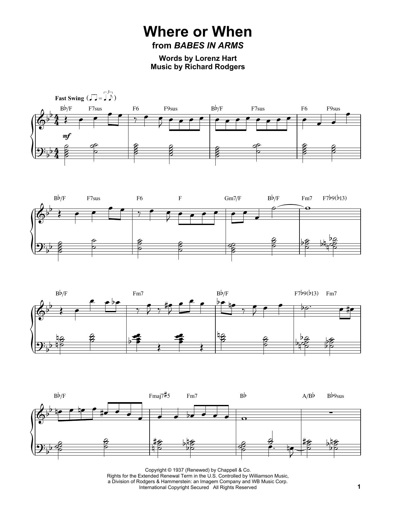 Where Or When (Piano Transcription)
