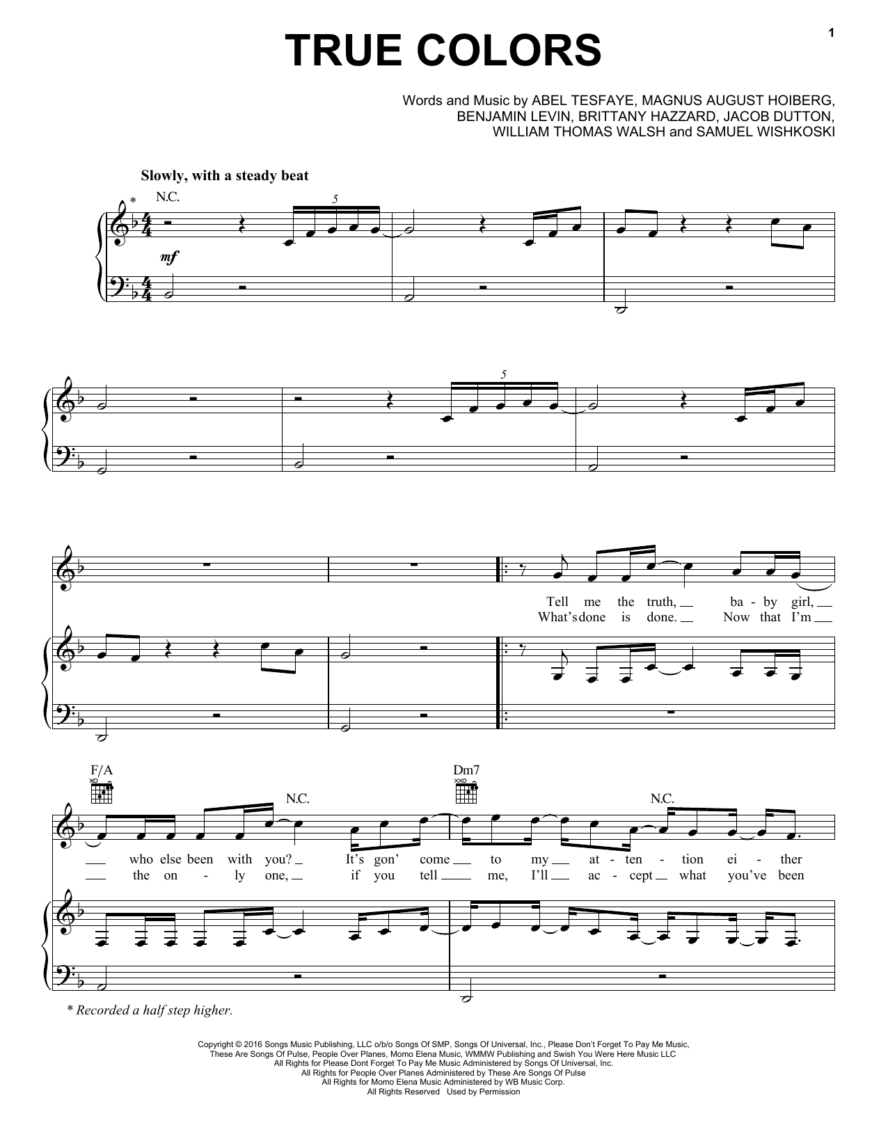 True Colors (Piano, Vocal & Guitar (Right-Hand Melody))
