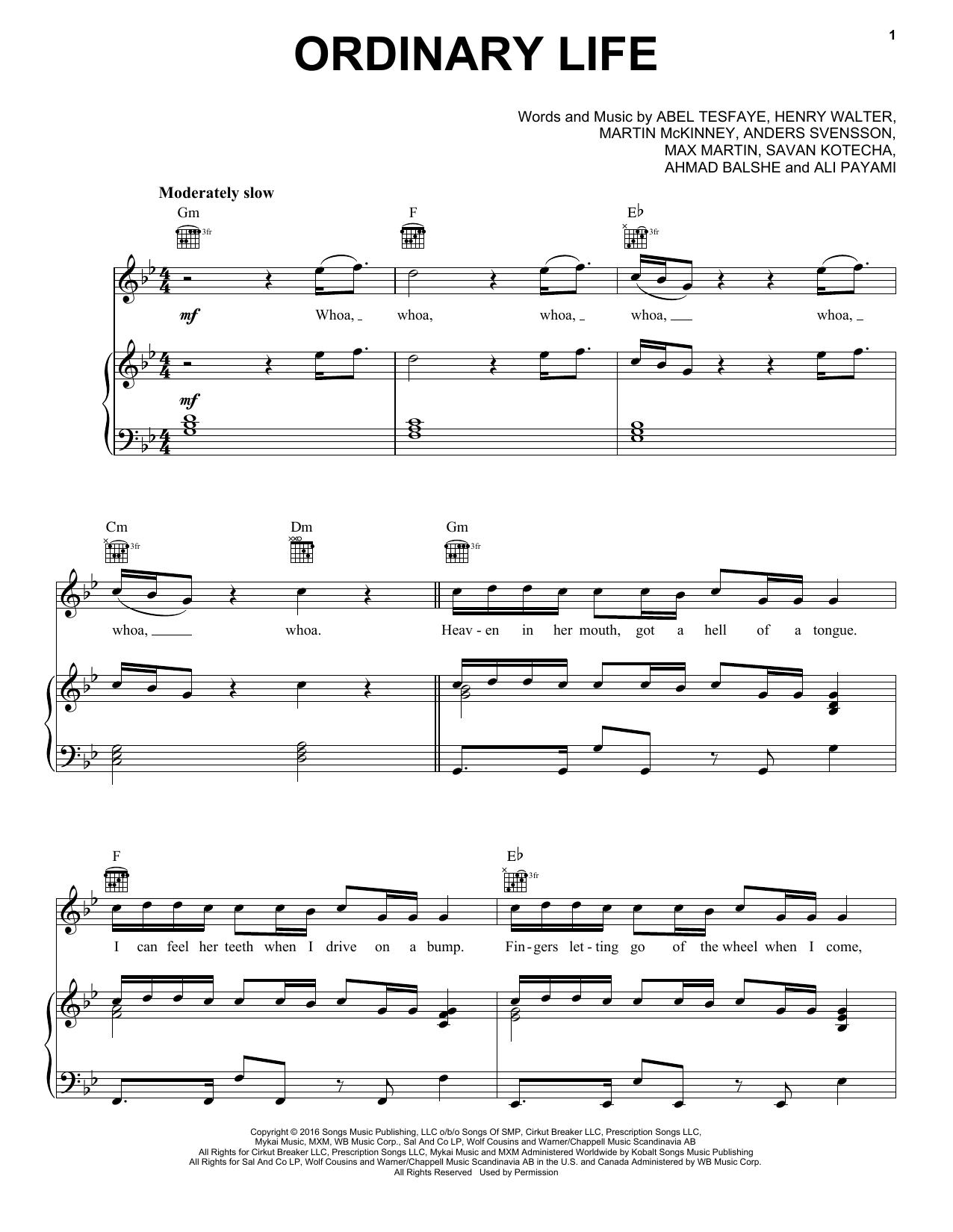 Ordinary Life (Piano, Vocal & Guitar (Right-Hand Melody))