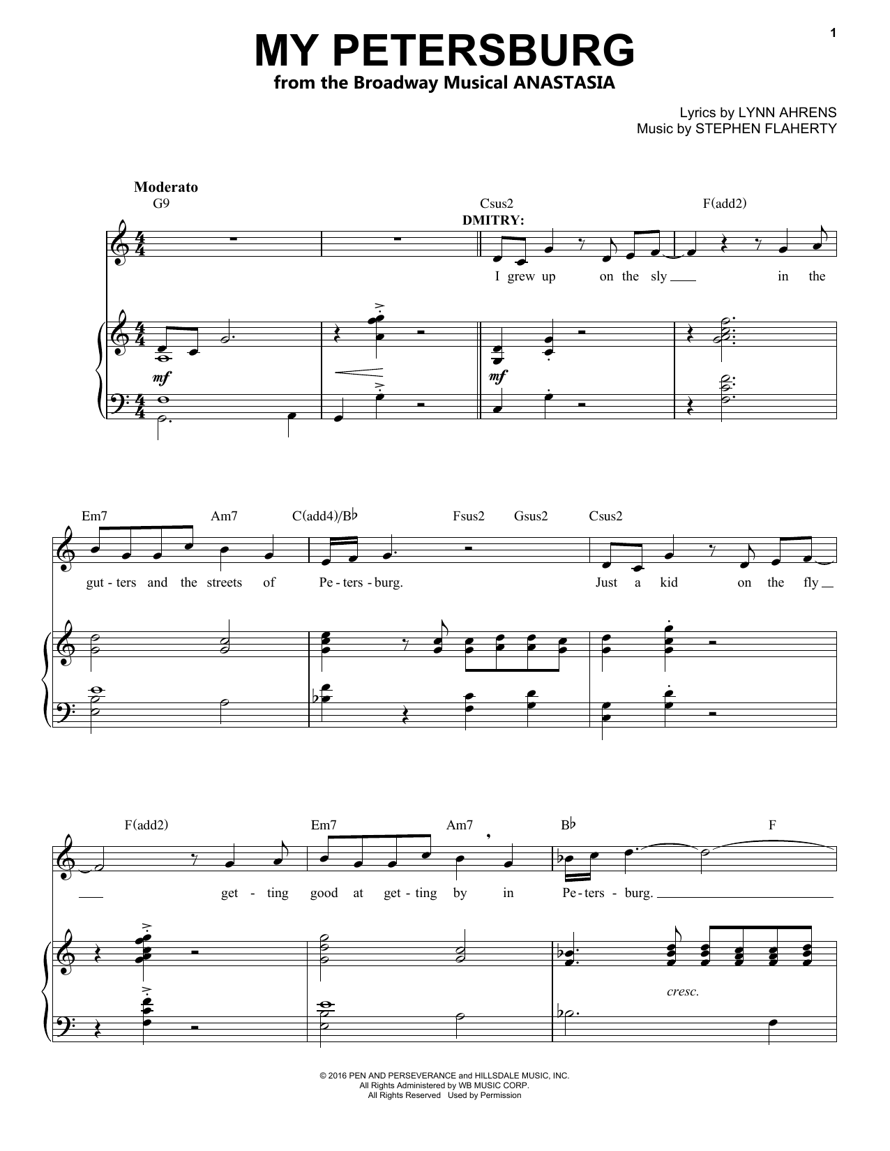 My Petersburg (from Anastasia) (Piano & Vocal)