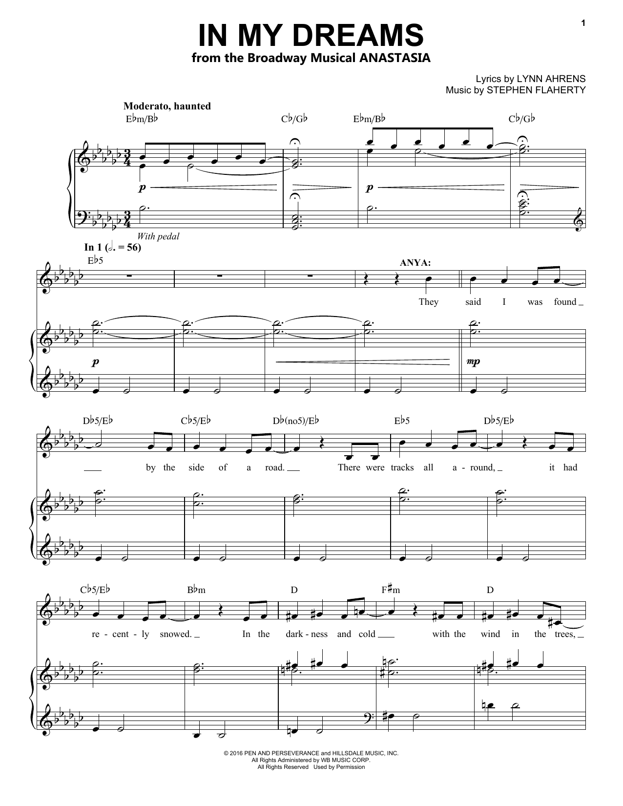 In My Dreams (from Anastasia) (Piano & Vocal)