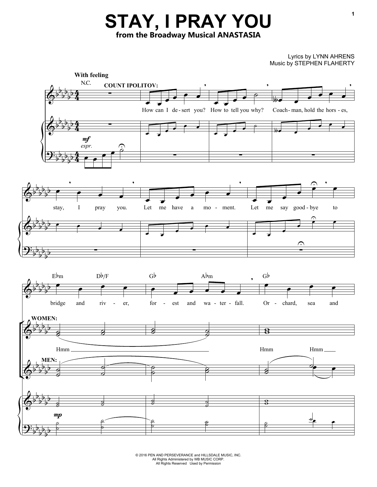 Stay, I Pray You (from Anastasia) (Piano & Vocal)