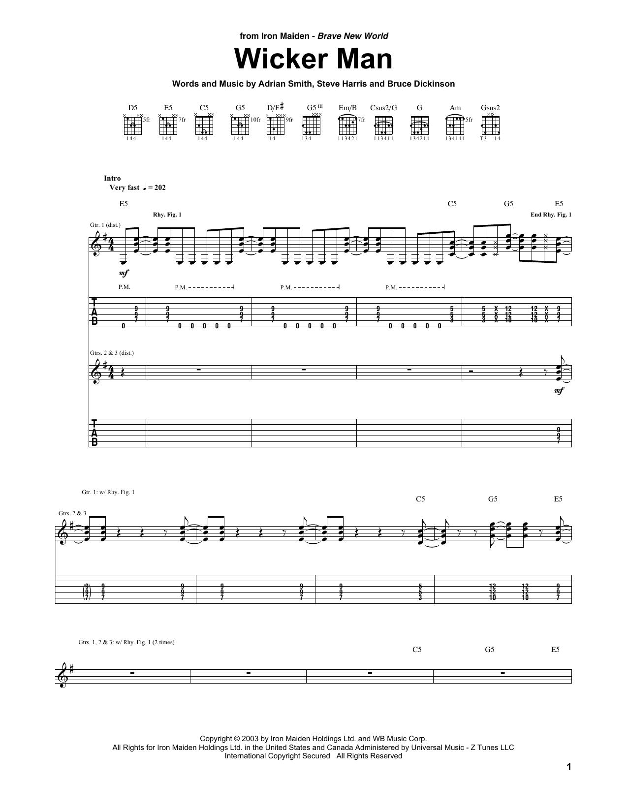 Wicker Man Sheet Music