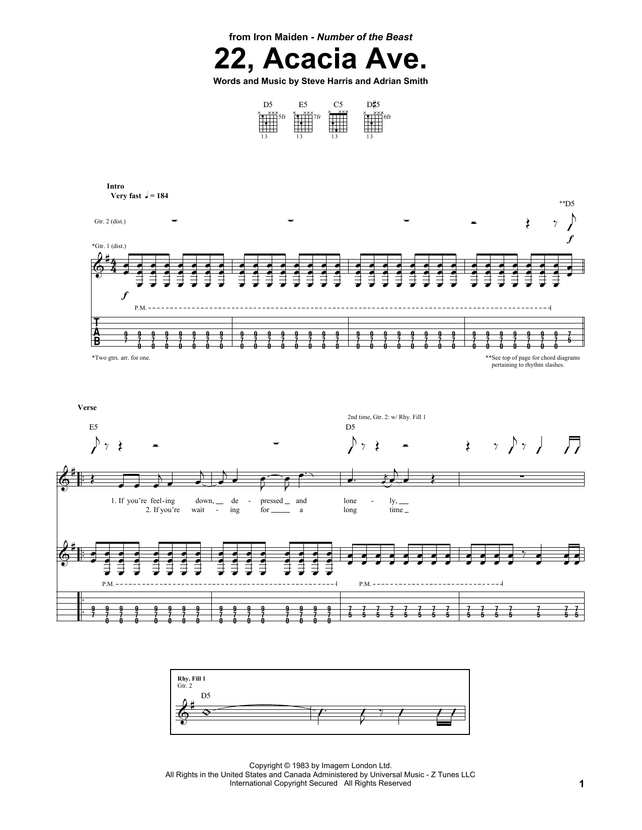 22, Acacia Ave. (Guitar Tab)