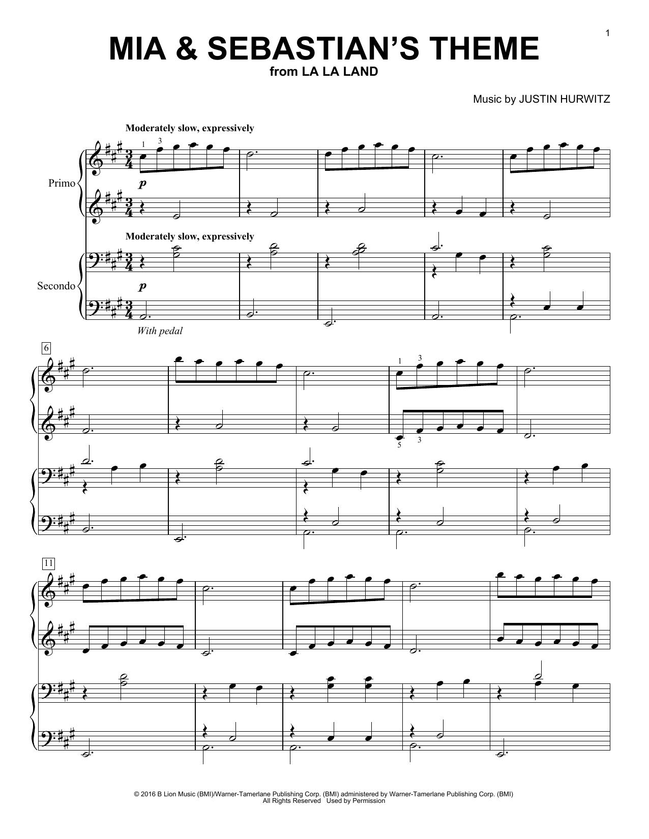 Mia & Sebastian's Theme (from La La Land) (arr. Brent Edstrom) (Piano Duet)