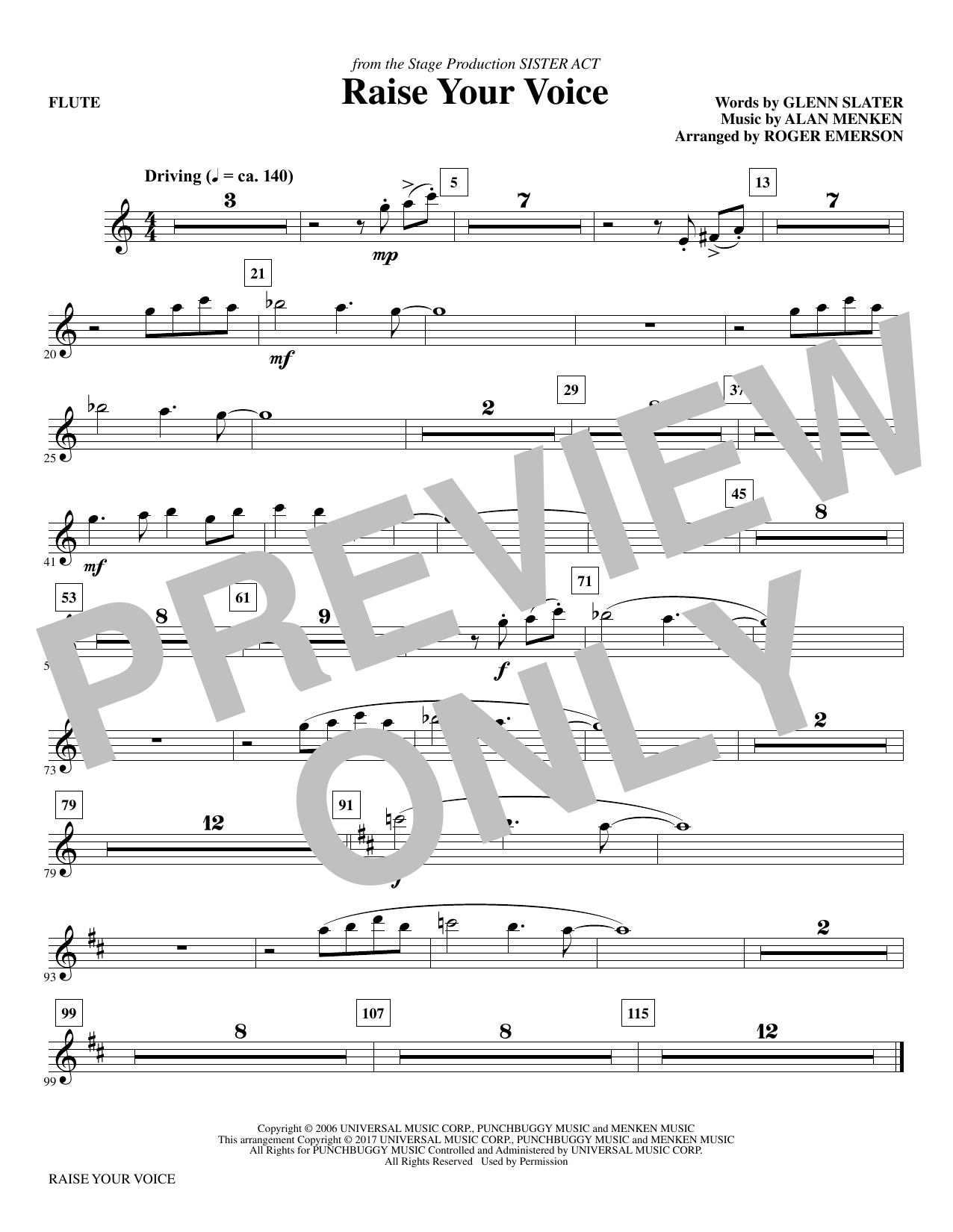 Raise Your Voice (complete set of parts) sheet music for orchestra/band by Roger Emerson, Alan Menken and Glenn Slater. Score Image Preview.