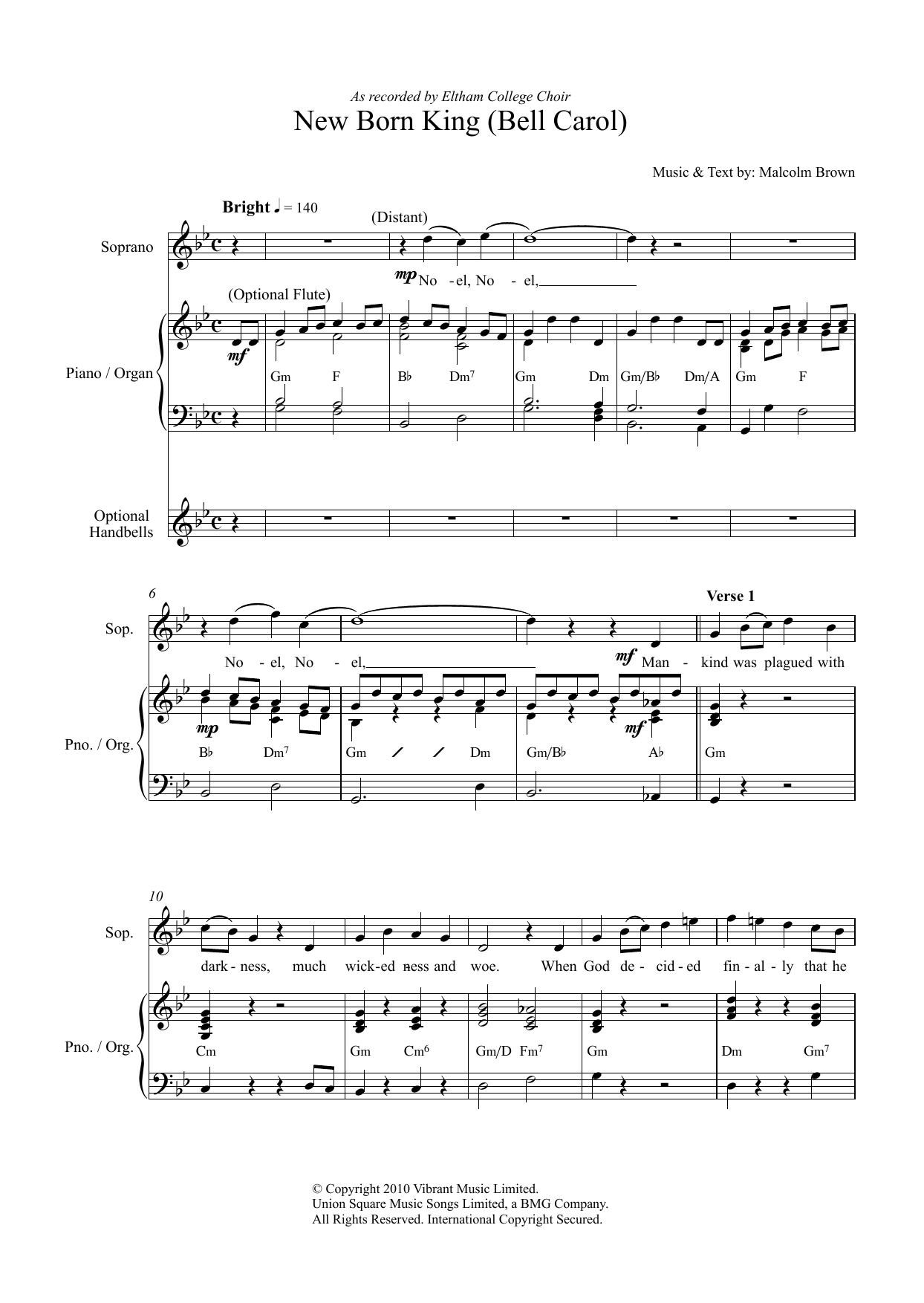 New Born King (Bell Carol) Sheet Music