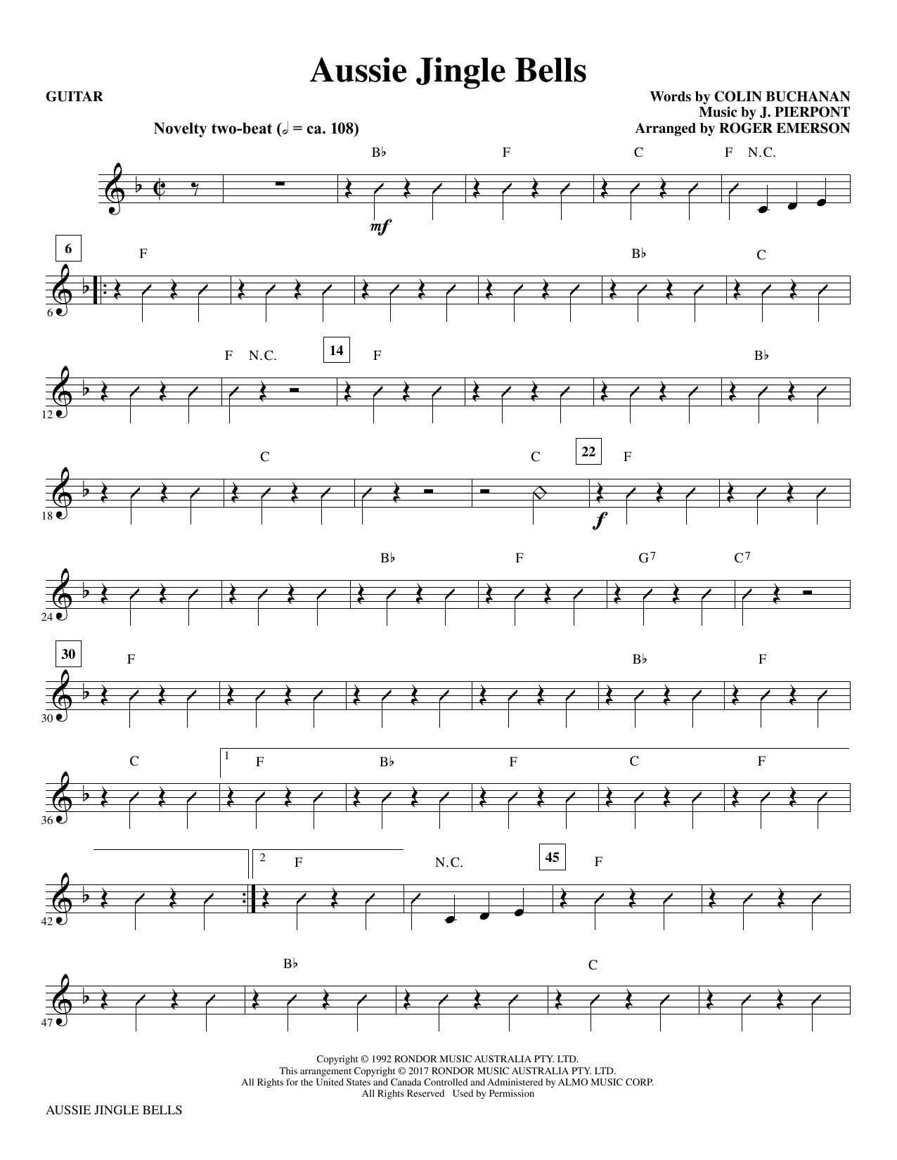 Aussie Jingle Bells - Guitar Sheet Music