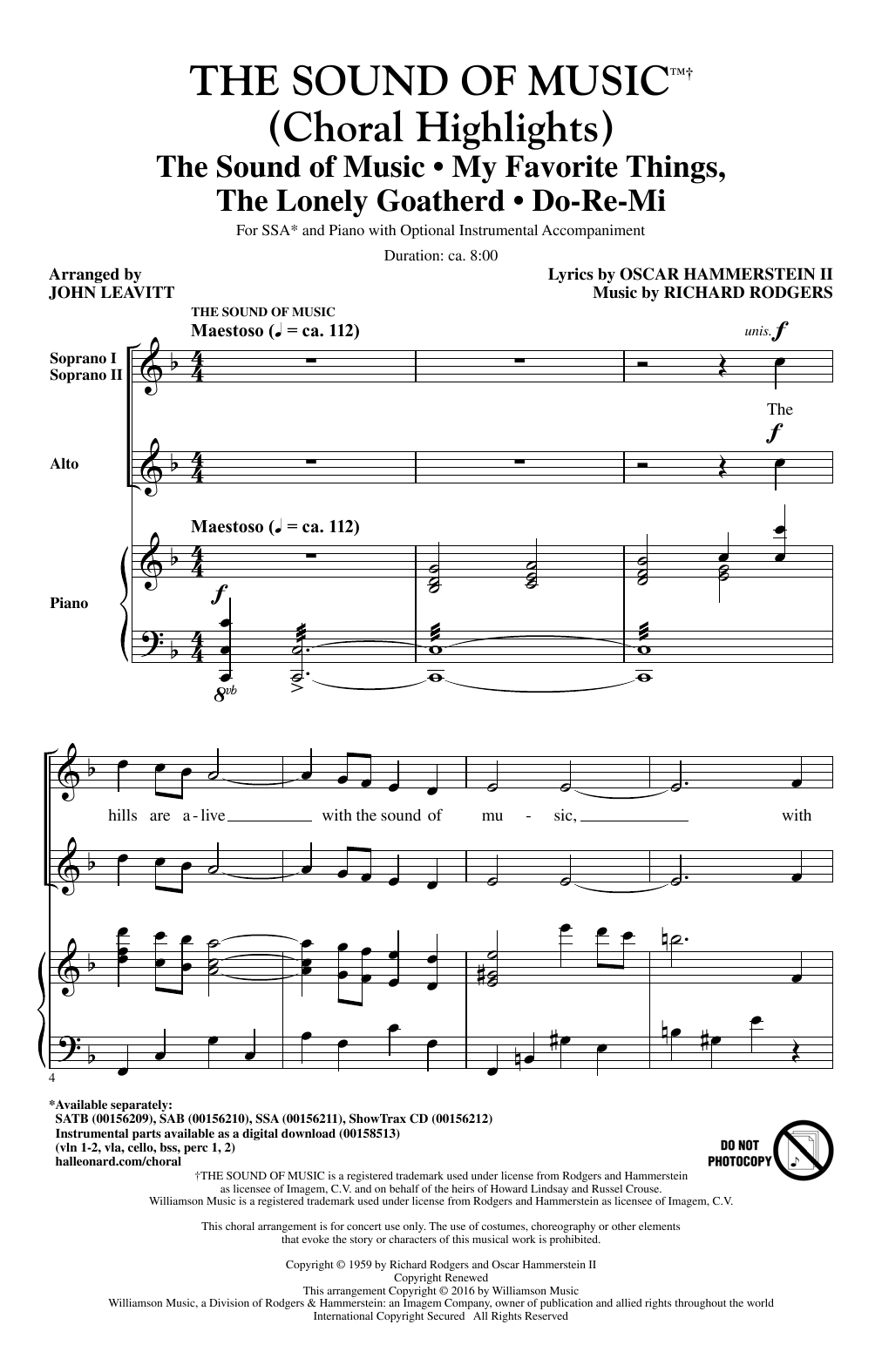 The Sound Of Music (Choral Highlights) (arr. John Leavitt) (SSA Choir)