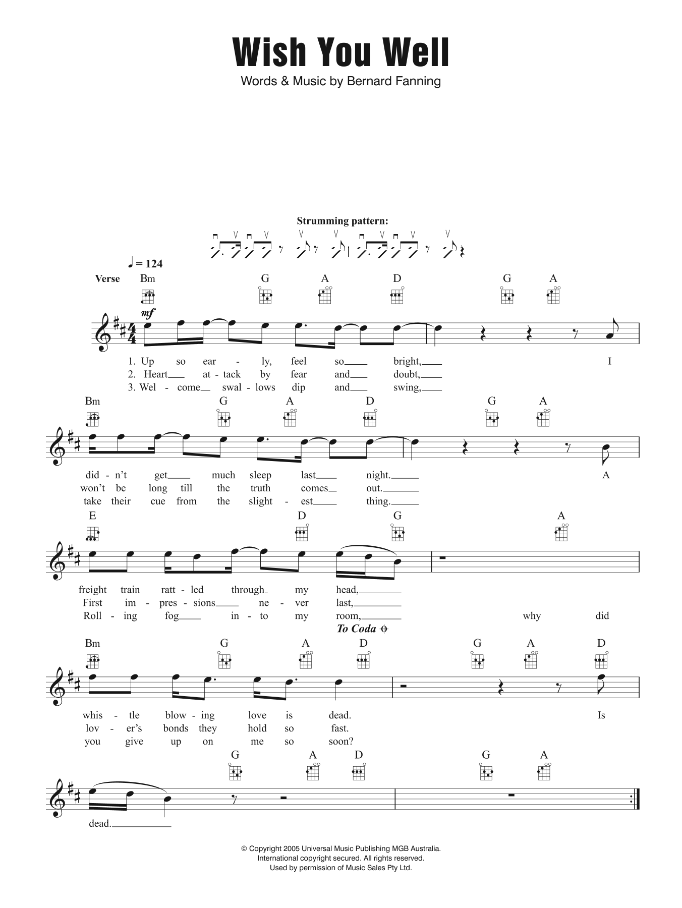 Wish You Well Sheet Music