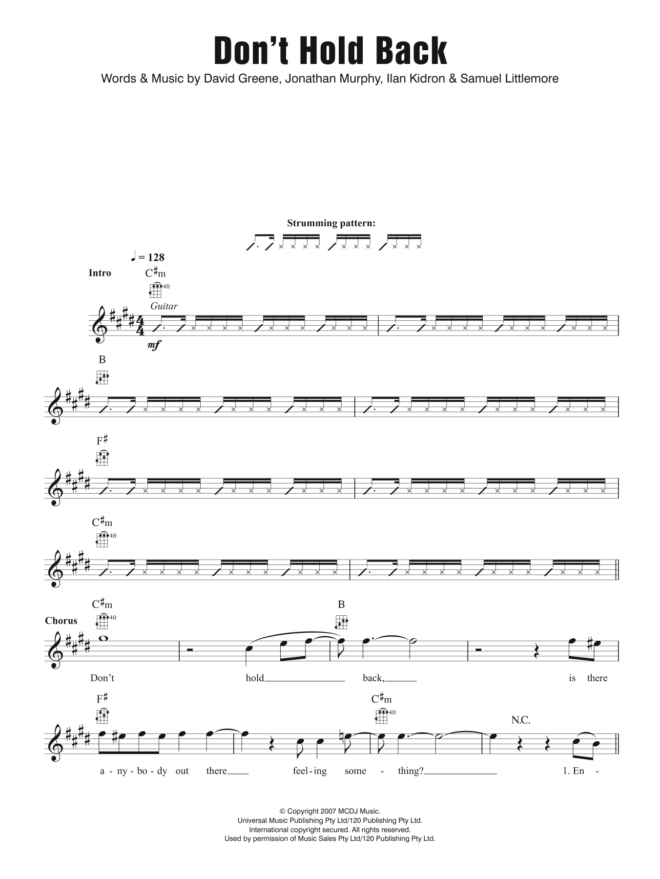 Don't Hold Back Sheet Music
