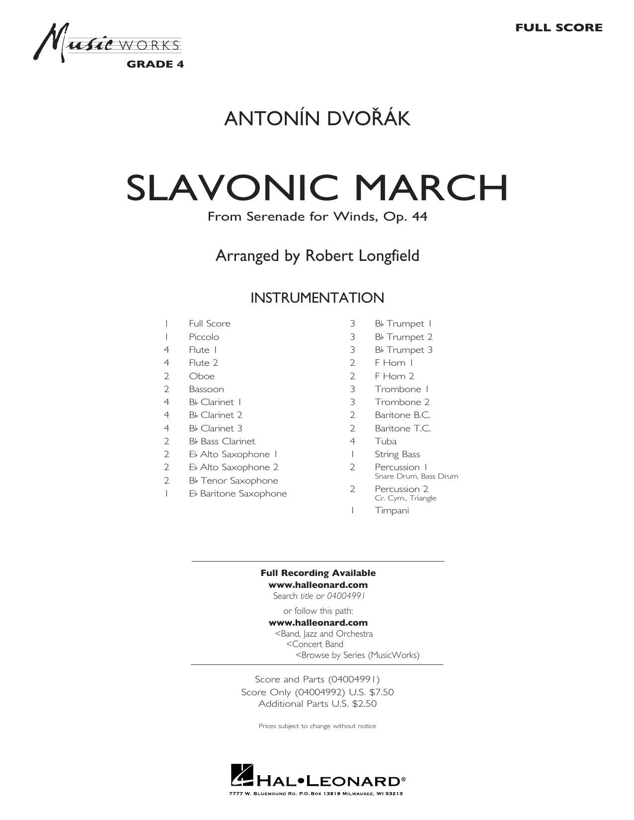 Slavonic March (from Serenade for Winds, Op. 44) - Conductor Score (Full Score) Sheet Music