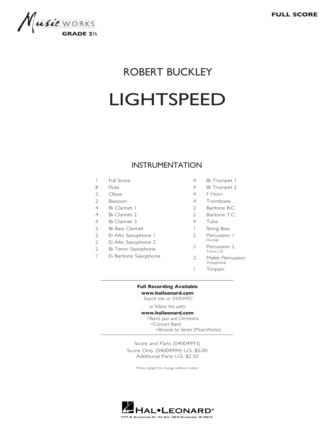 Lightspeed (COMPLETE) sheet music for concert band by Robert Buckley. Score Image Preview.