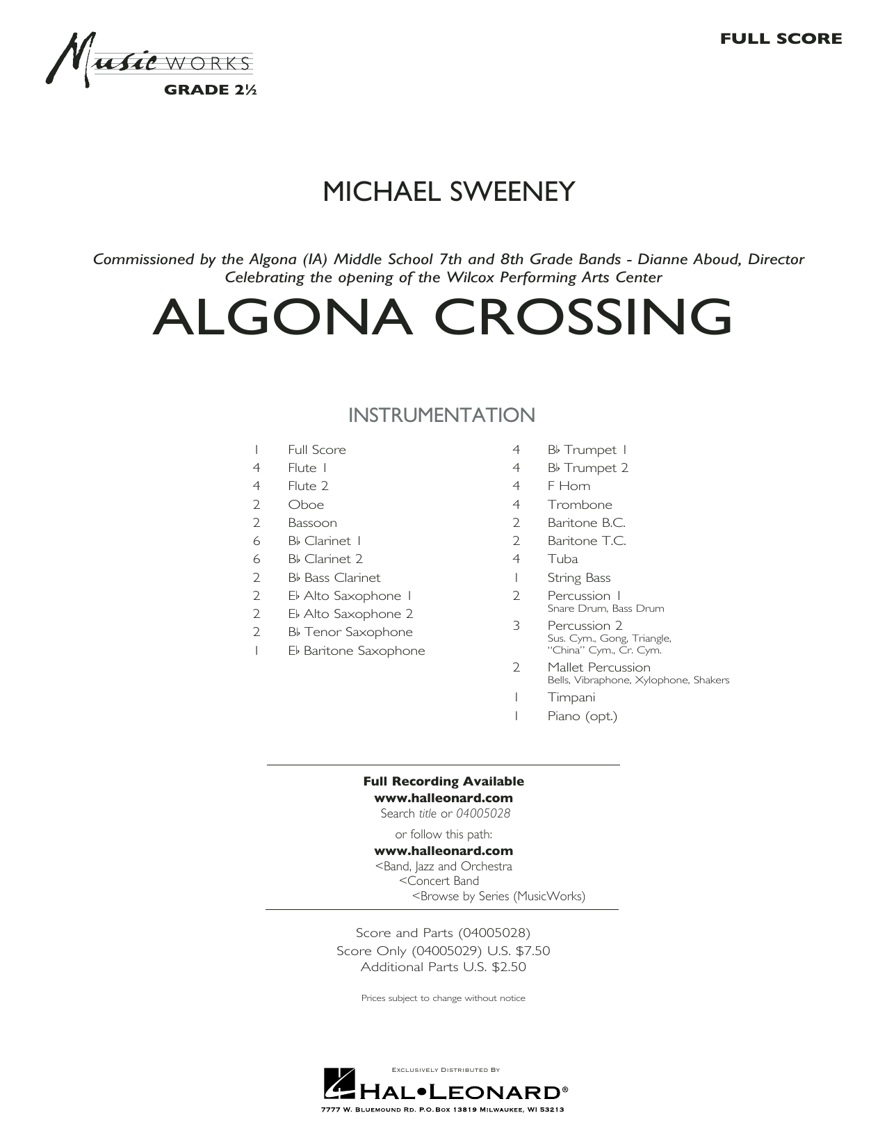 Algona Crossing (COMPLETE) sheet music for concert band by Michael Sweeney. Score Image Preview.