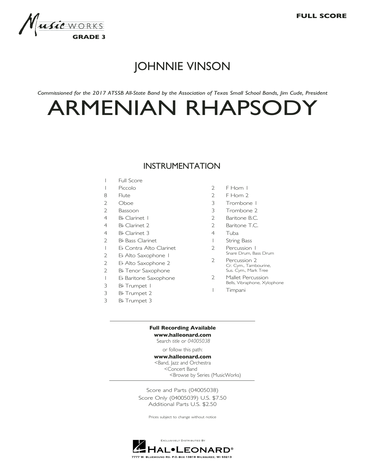 Armenian Rhapsody (COMPLETE) sheet music for concert band by Johnnie Vinson. Score Image Preview.