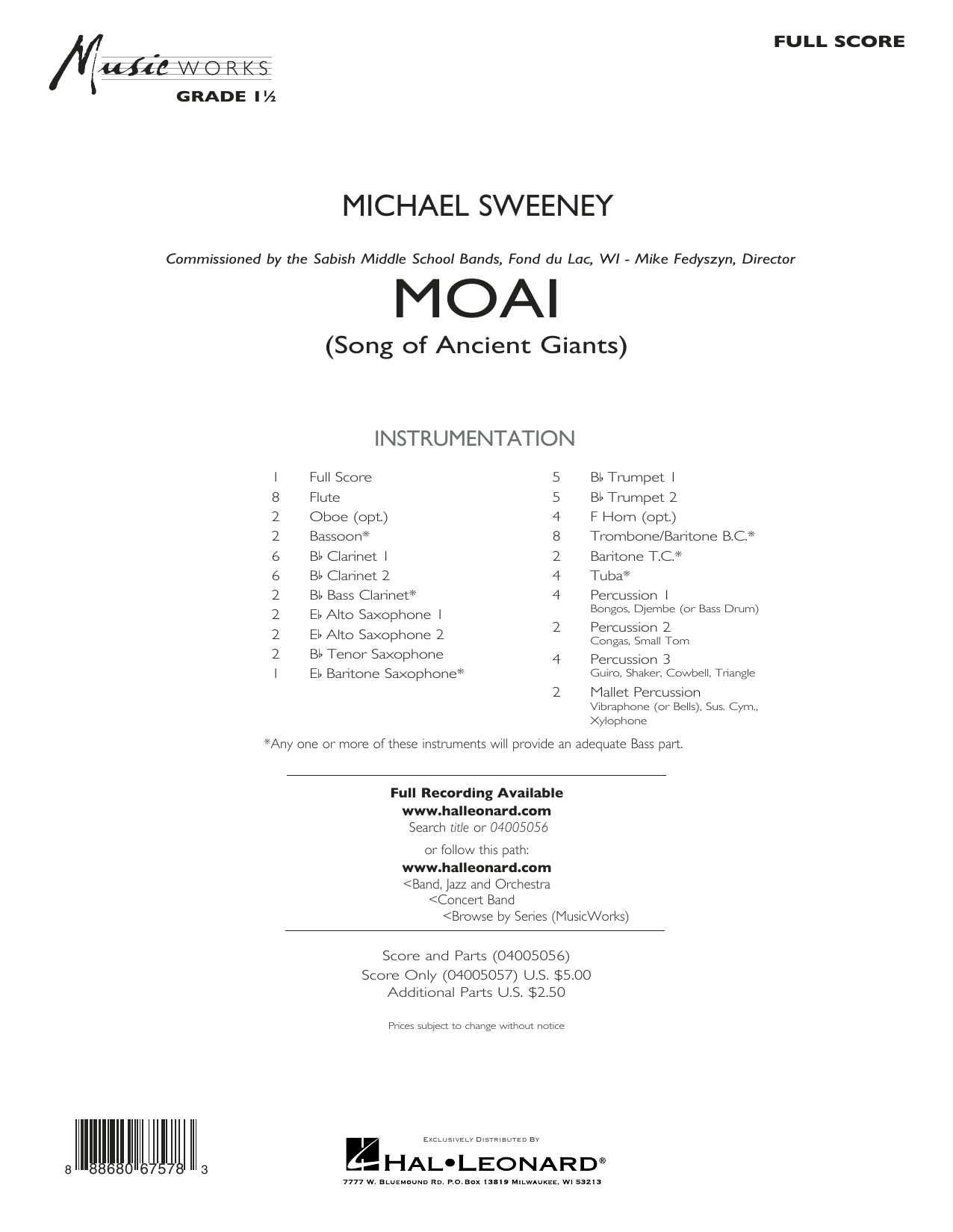 Moai (Songs of Ancient Giants) - Conductor Score (Full Score) Sheet Music