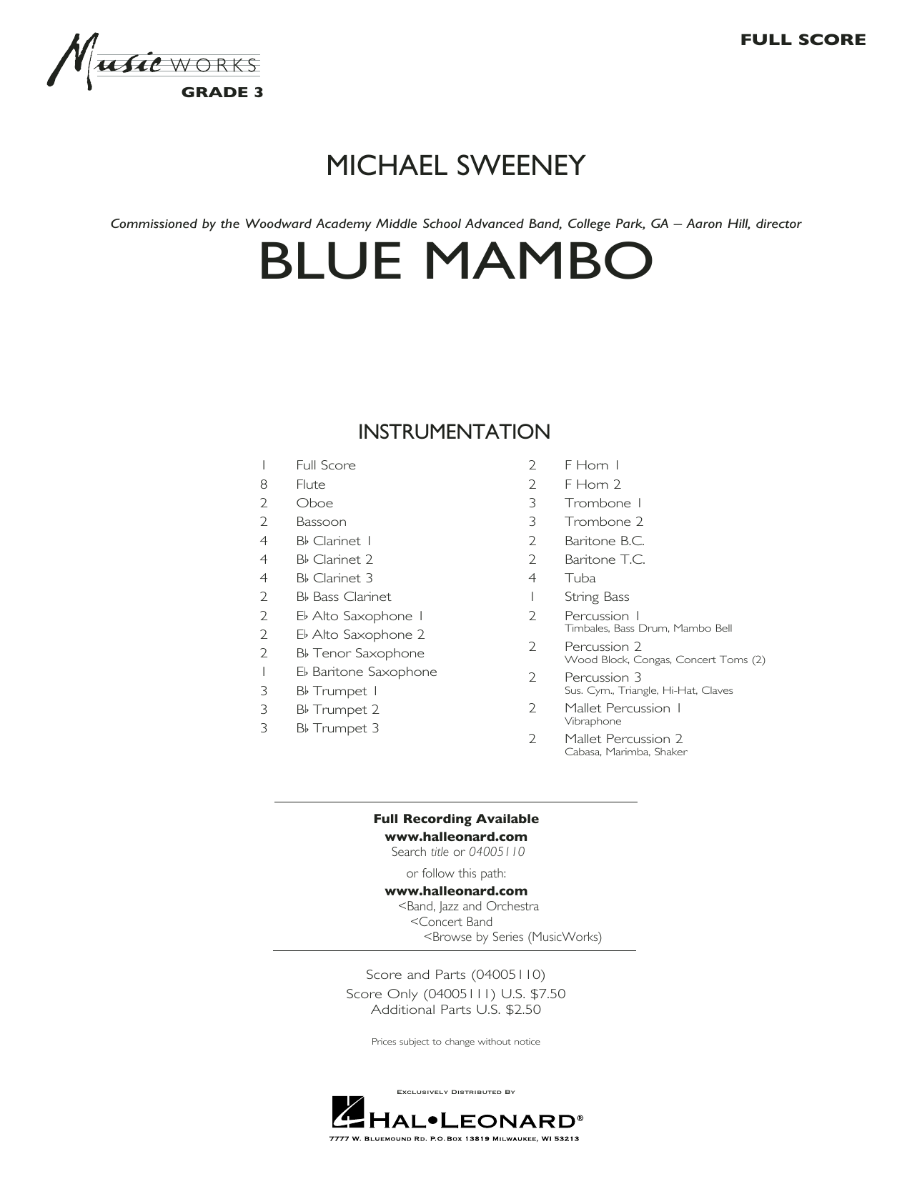 Blue Mambo (COMPLETE) sheet music for concert band by Michael Sweeney. Score Image Preview.