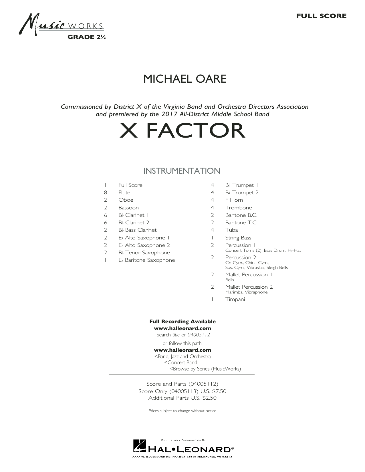 X Factor (COMPLETE) sheet music for concert band by Michael Oare. Score Image Preview.
