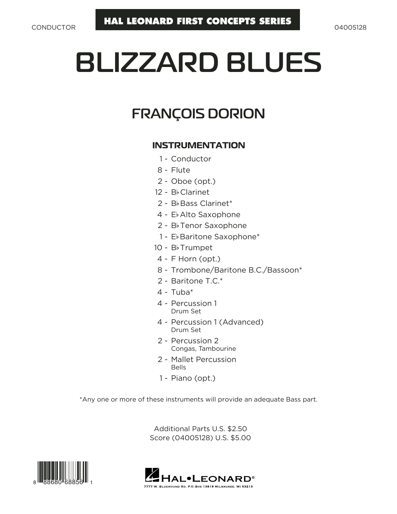 Blizzard Blues (COMPLETE) sheet music for concert band by Francois Dorion. Score Image Preview.