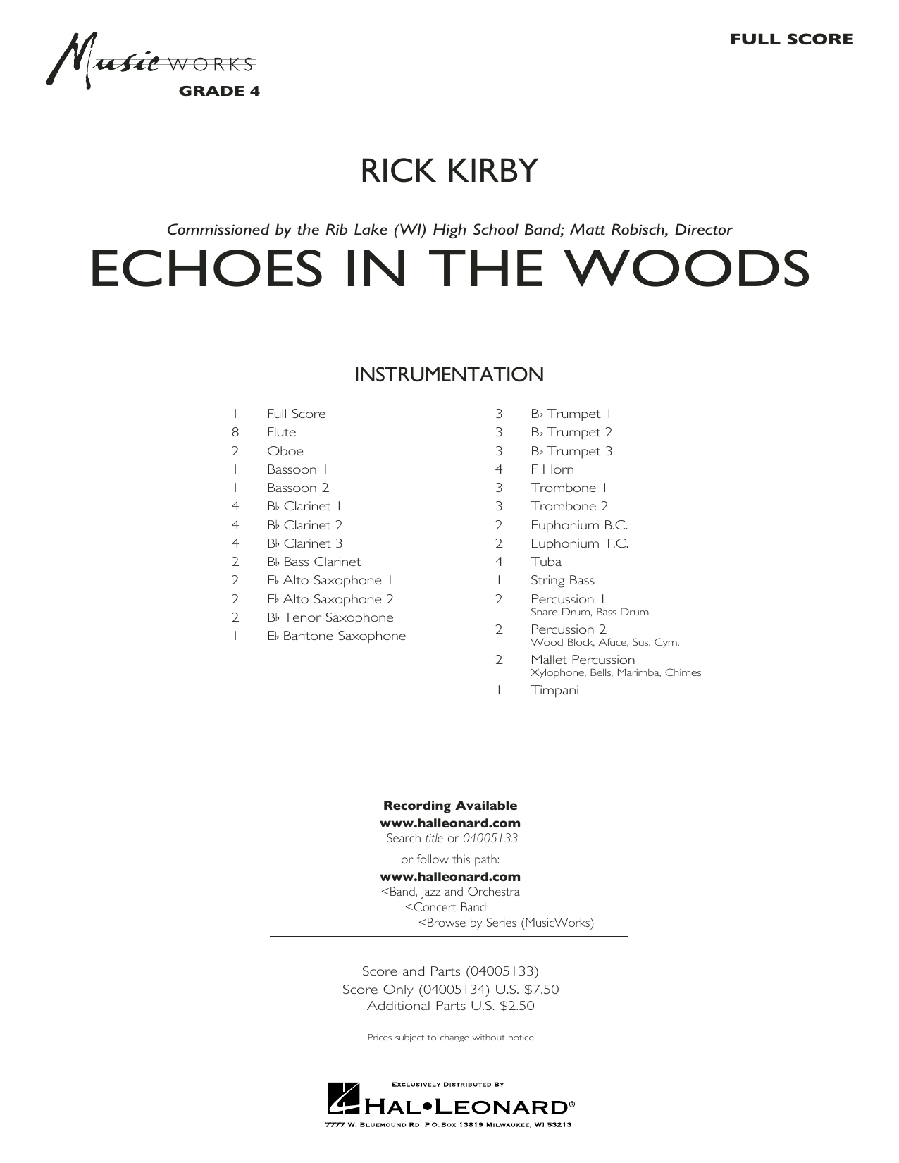 Echoes in the Woods (COMPLETE) sheet music for concert band by Rick Kirby. Score Image Preview.