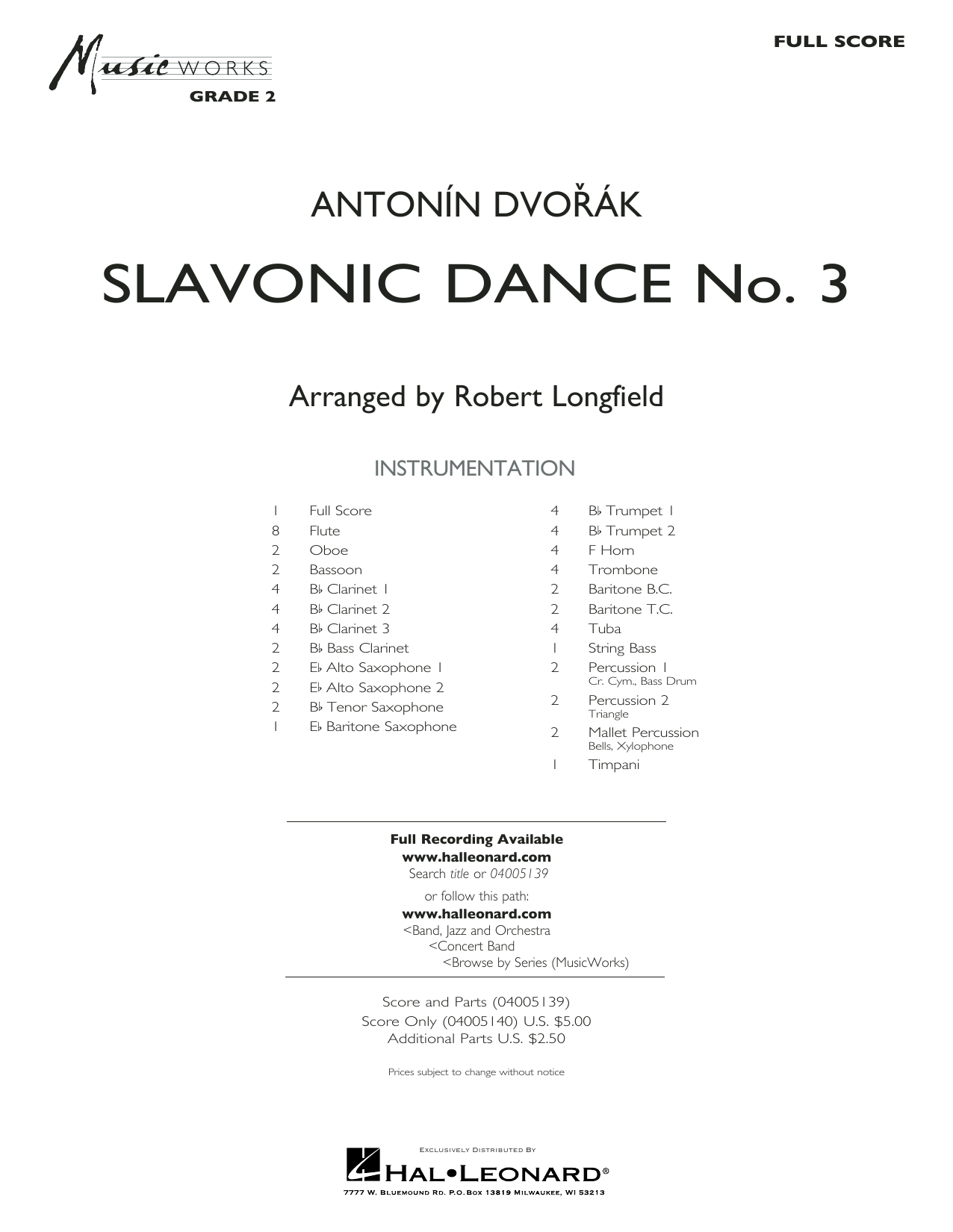 Slavonic Dance No. 3 (COMPLETE) sheet music for concert band by Robert Longfield and Antonin Dvorak. Score Image Preview.