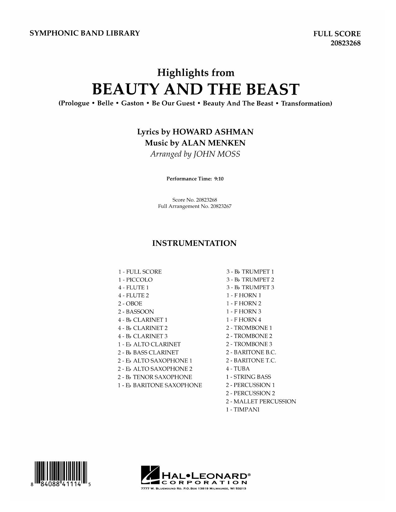 Highlights from Beauty and the Beast - Full Score Sheet Music