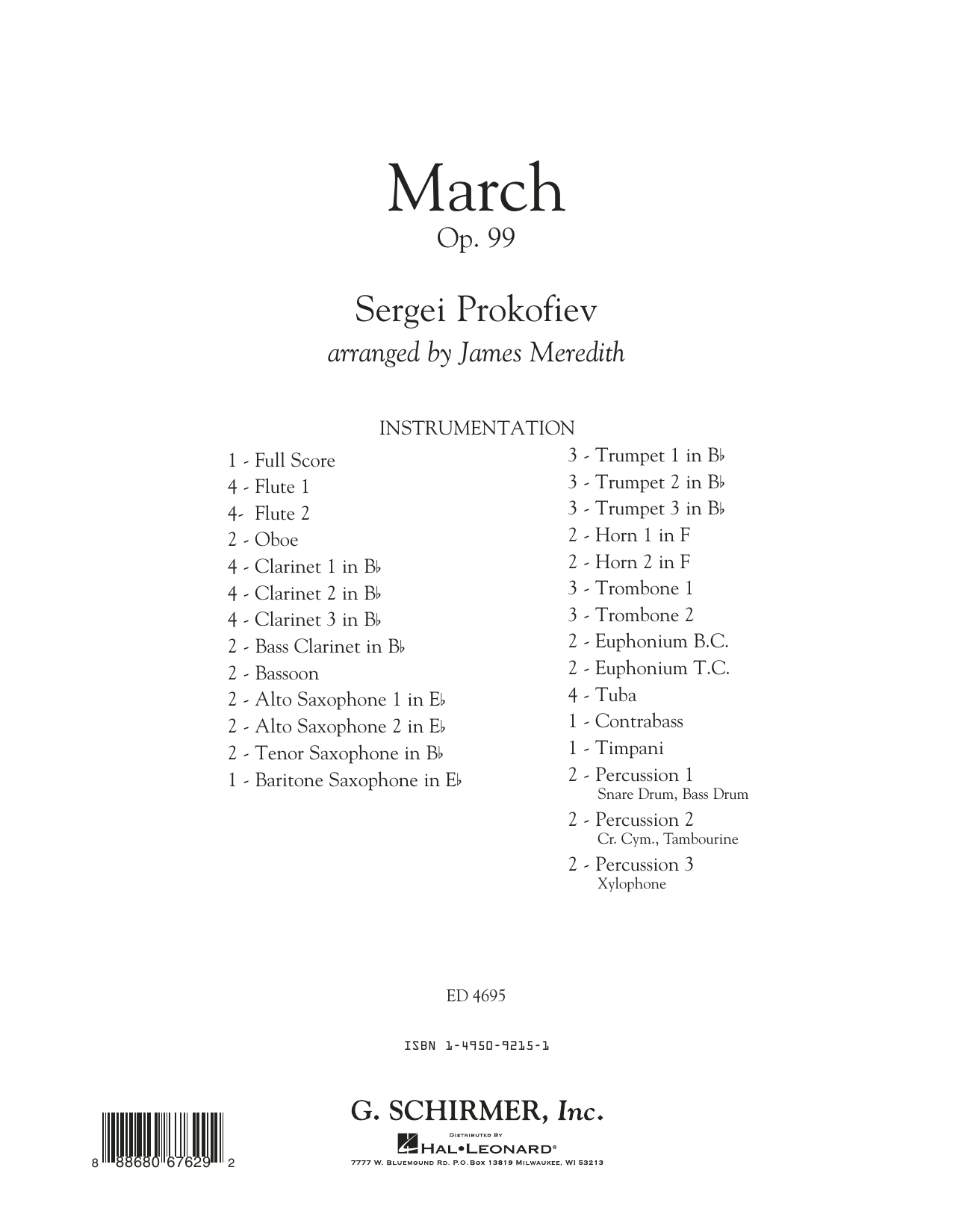 March, Op. 99 (COMPLETE) sheet music for concert band by Sergei Prokofiev and James Meredith. Score Image Preview.