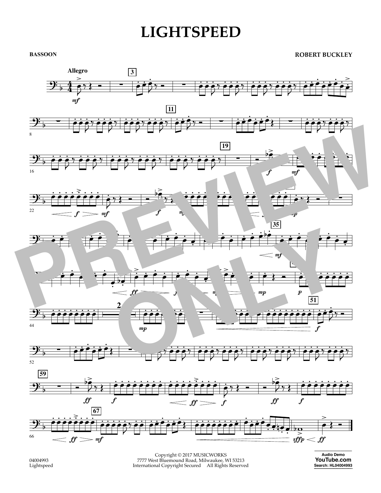 Lightspeed - Bassoon Sheet Music