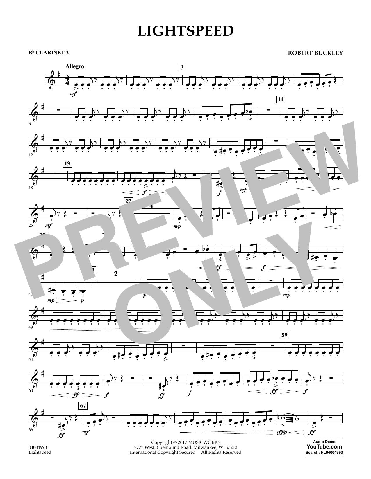 Lightspeed - Bb Clarinet 2 Sheet Music