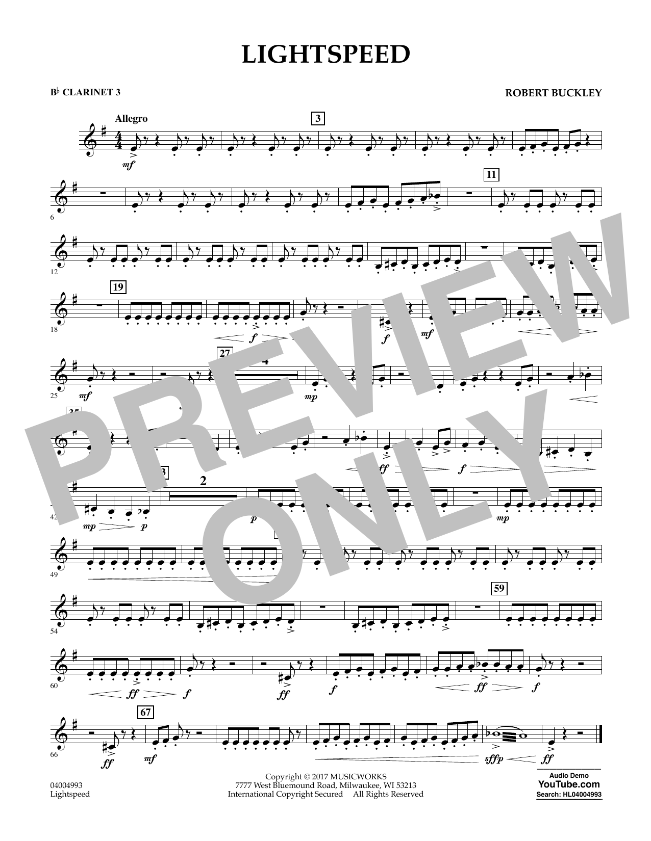 Lightspeed - Bb Clarinet 3 Sheet Music