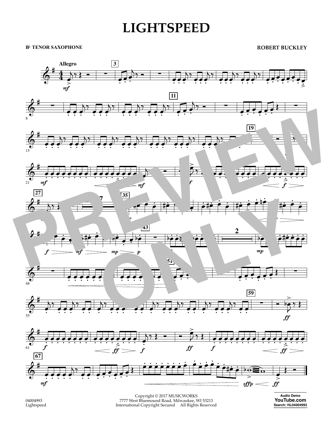 Lightspeed - Bb Tenor Saxophone Sheet Music