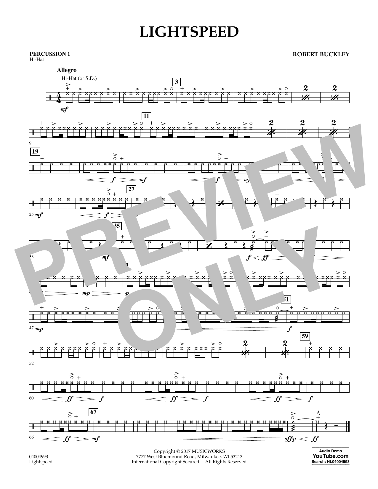Lightspeed - Percussion 1 Sheet Music