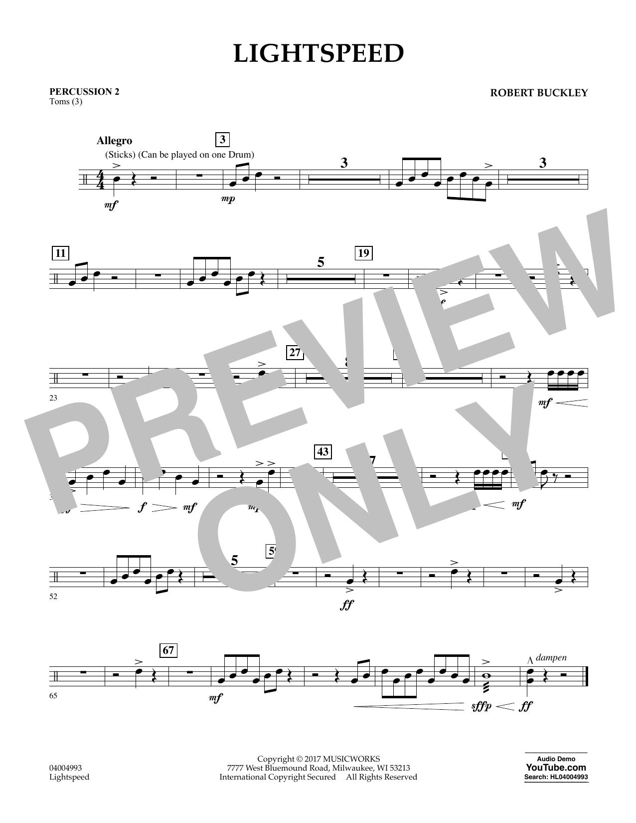 Lightspeed - Percussion 2 Sheet Music