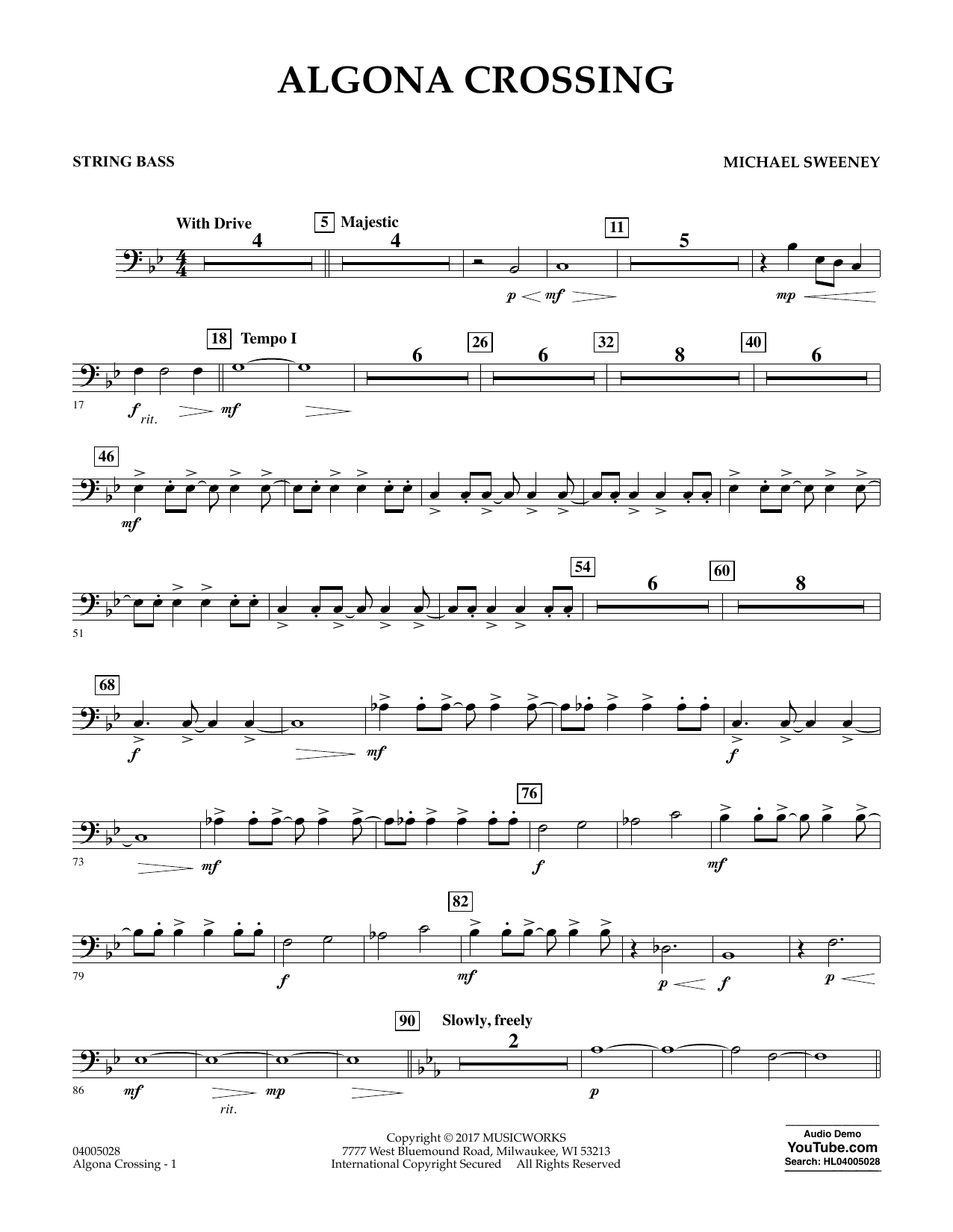 Algona Crossing - String Bass Sheet Music